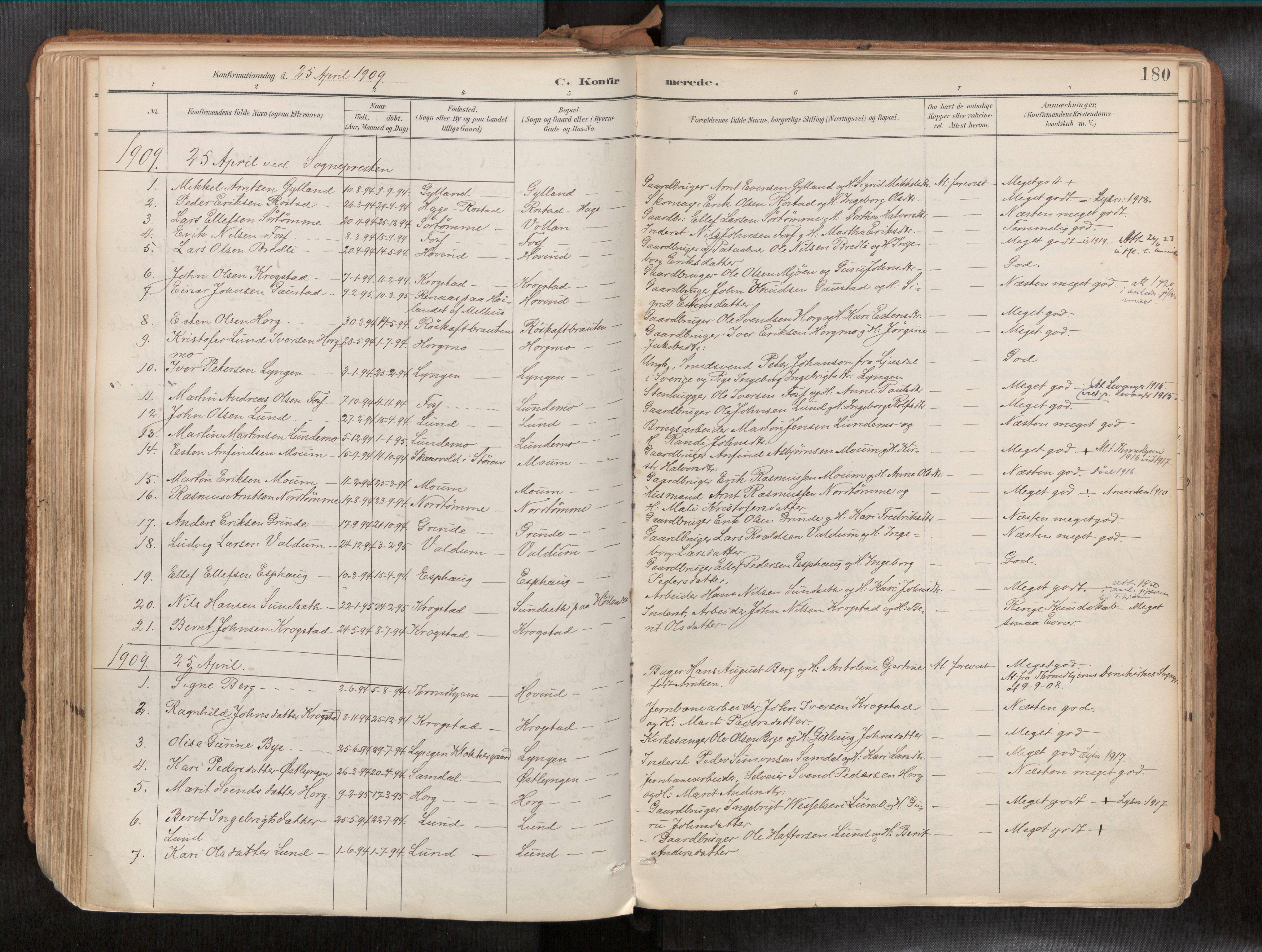 SAT, Ministerialprotokoller, klokkerbøker og fødselsregistre - Sør-Trøndelag, 692/L1105b: Ministerialbok nr. 692A06, 1891-1934, s. 180