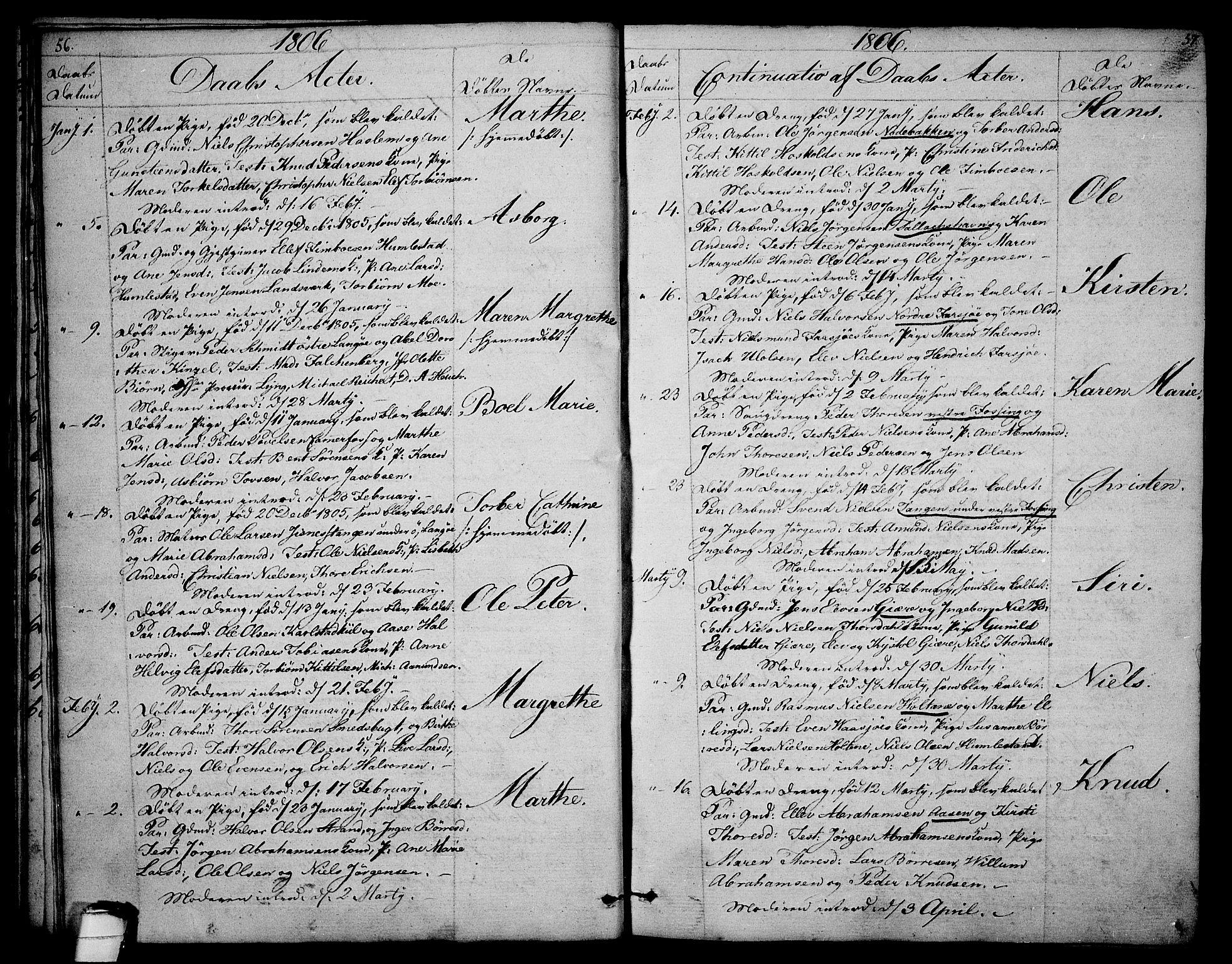 SAKO, Sannidal kirkebøker, F/Fa/L0003: Ministerialbok nr. 3, 1803-1813, s. 56-57