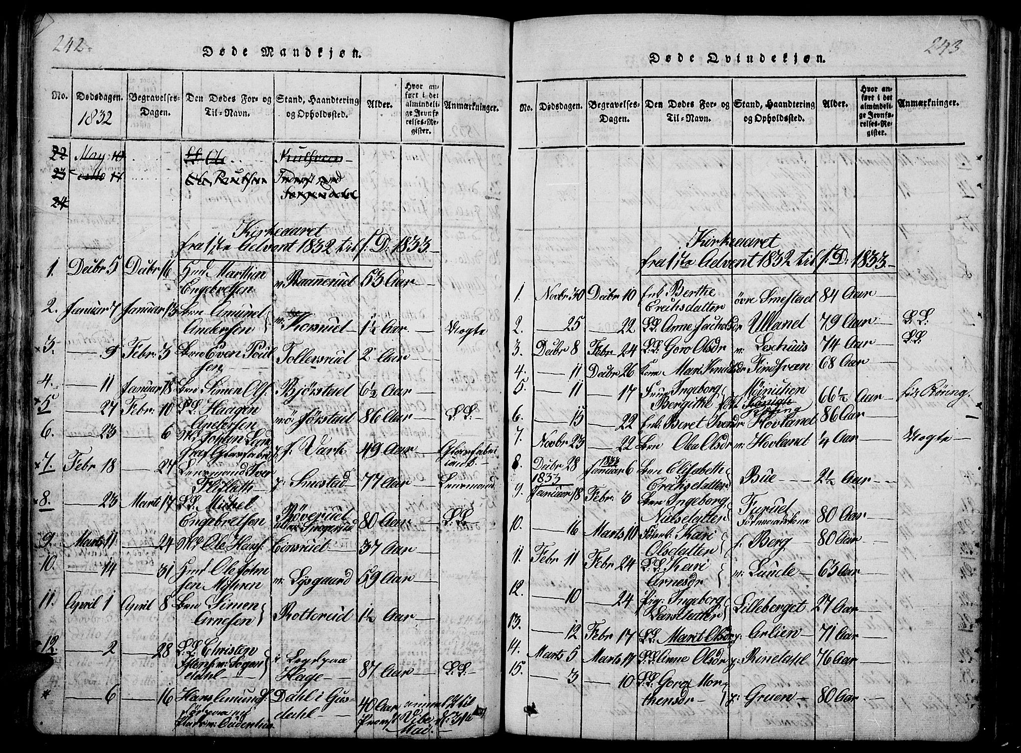 SAH, Fåberg prestekontor, Ministerialbok nr. 3, 1818-1833, s. 242-243