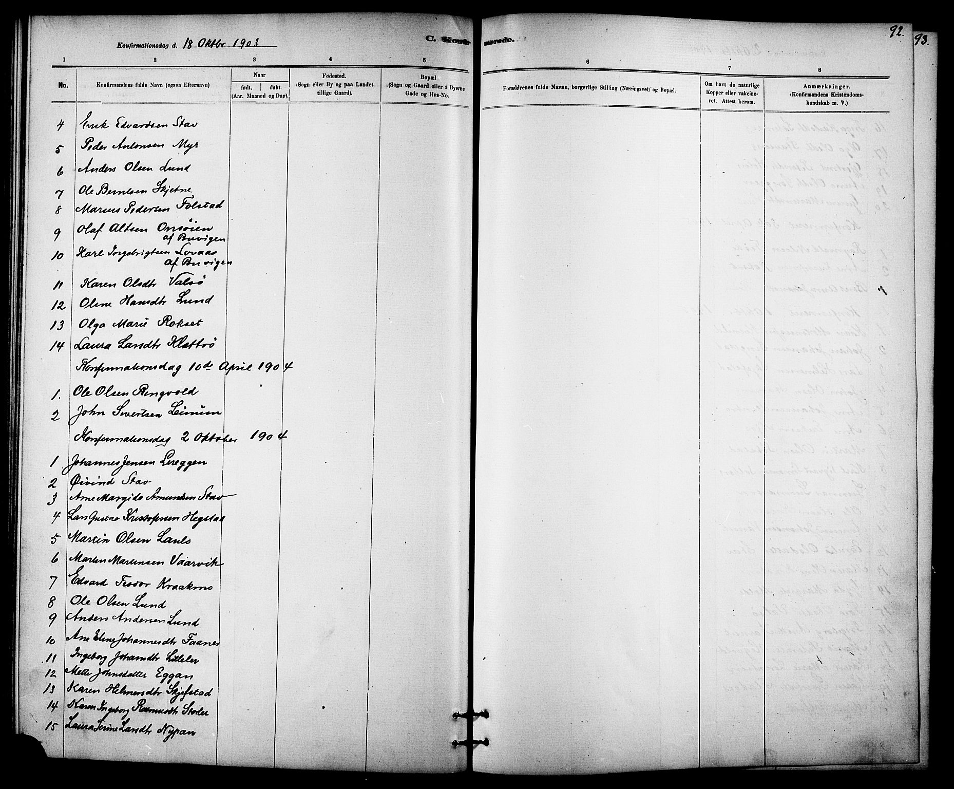 SAT, Ministerialprotokoller, klokkerbøker og fødselsregistre - Sør-Trøndelag, 613/L0395: Klokkerbok nr. 613C03, 1887-1909, s. 92