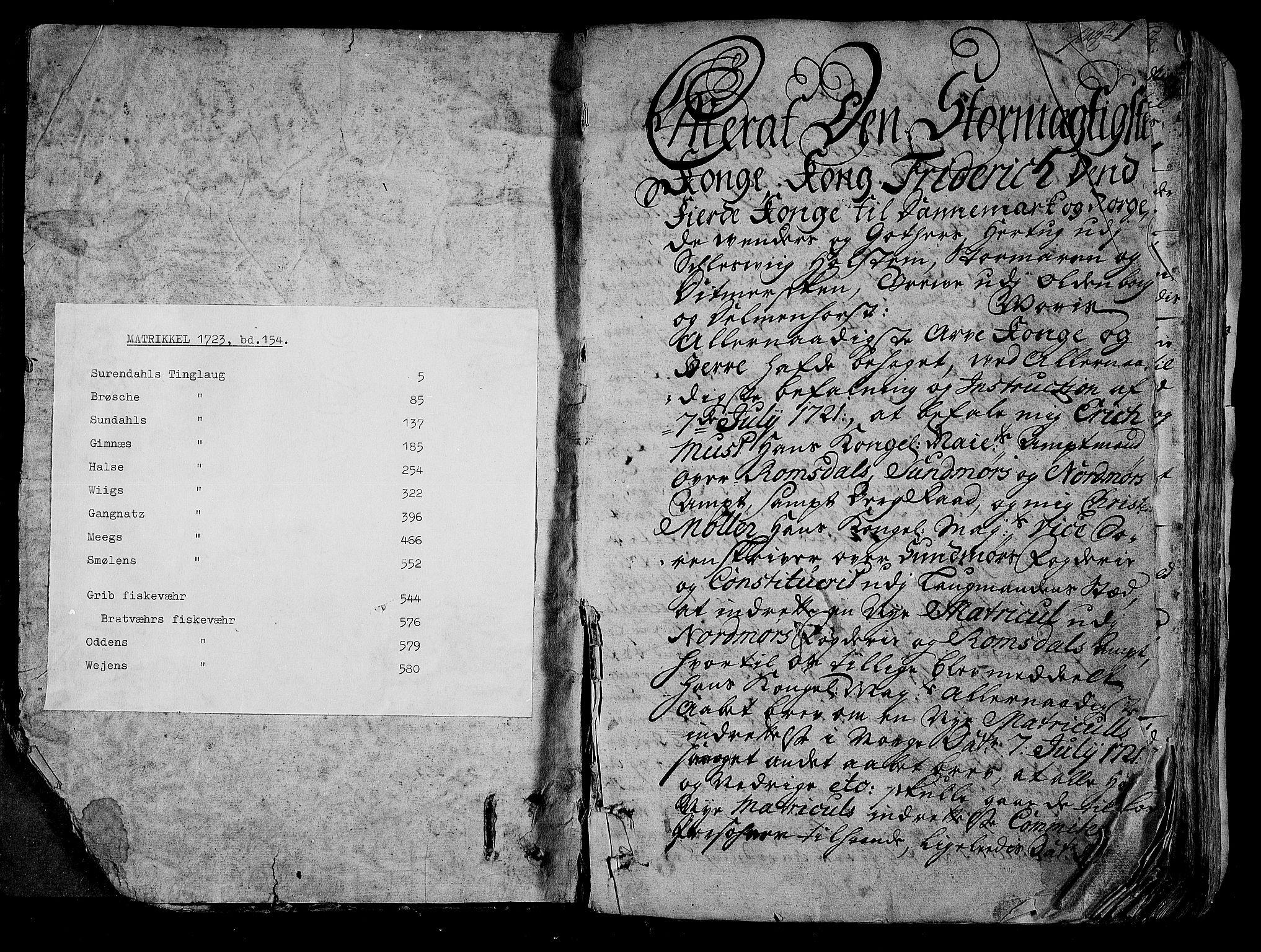 RA, Rentekammeret inntil 1814, Realistisk ordnet avdeling, N/Nb/Nbf/L0154: Nordmøre eksaminasjonsprotokoll, 1721-1723, s. 1
