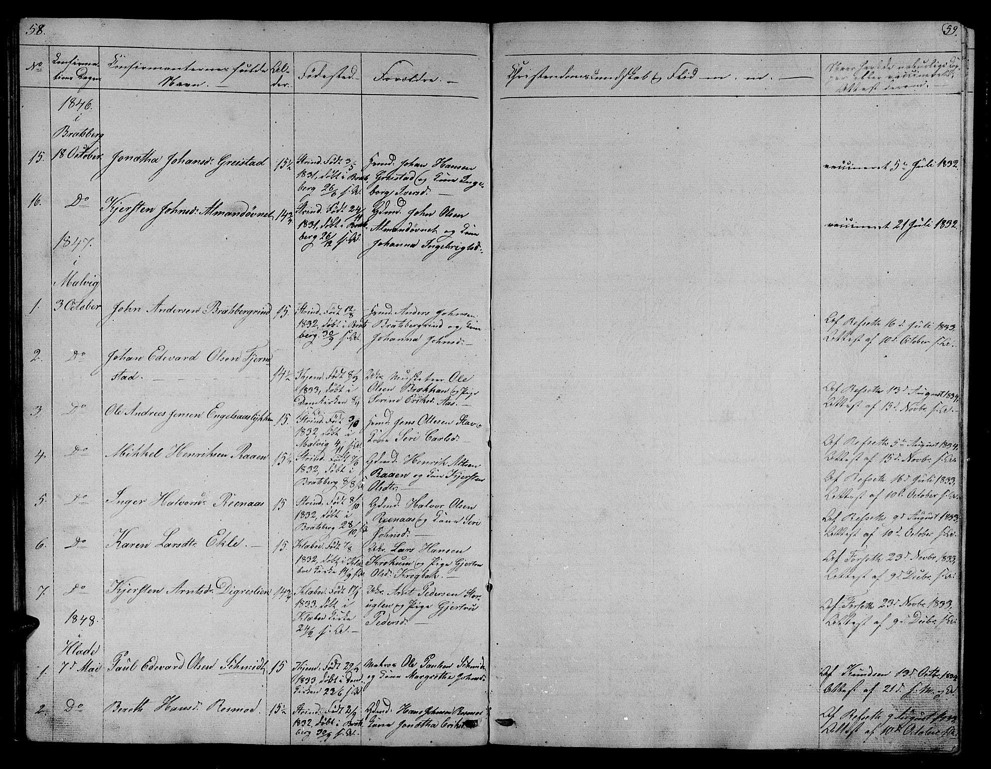 SAT, Ministerialprotokoller, klokkerbøker og fødselsregistre - Sør-Trøndelag, 608/L0339: Klokkerbok nr. 608C05, 1844-1863, s. 58-59