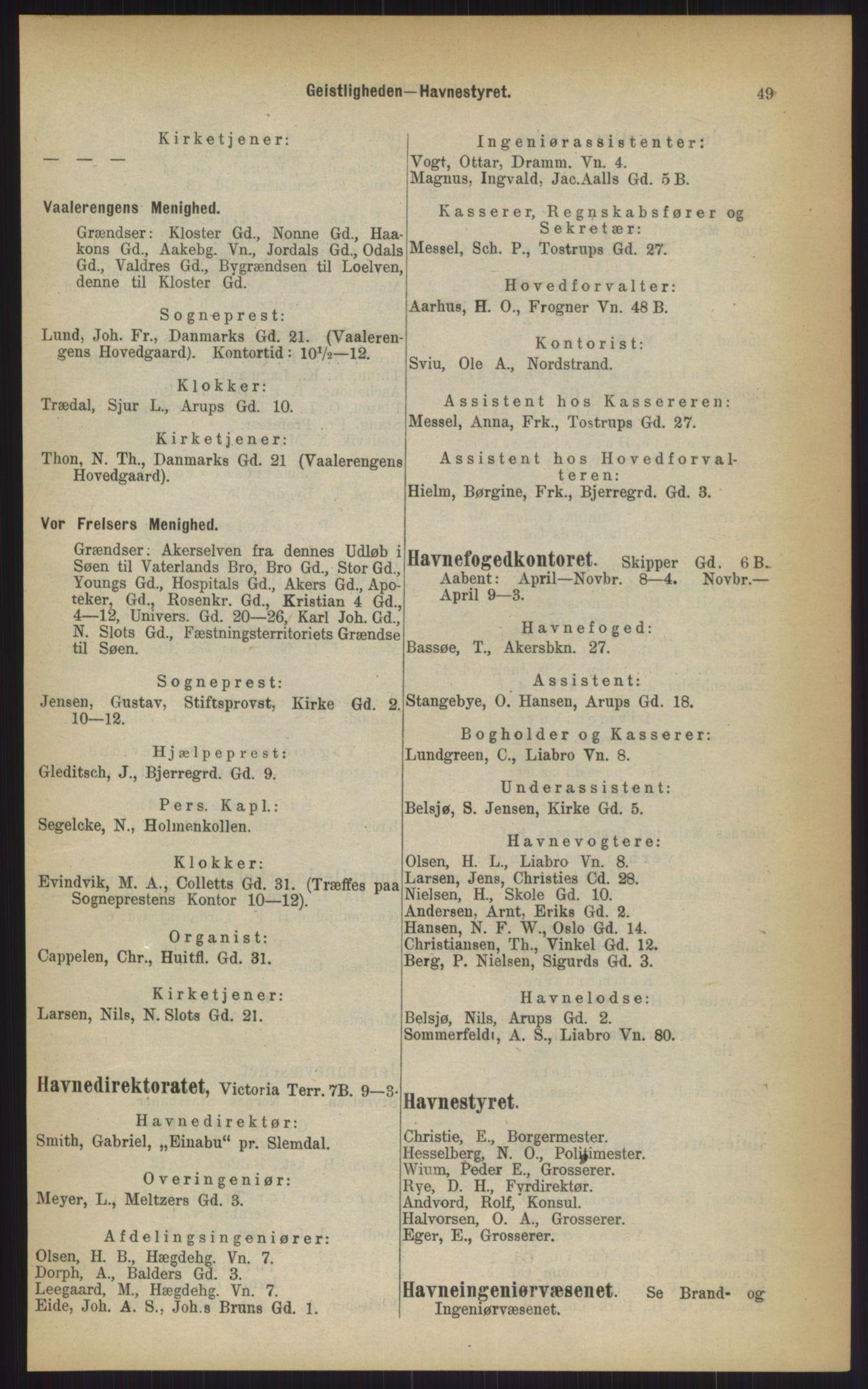 RA, Kristiania adressebok (publikasjon)*, 1903, s. 49