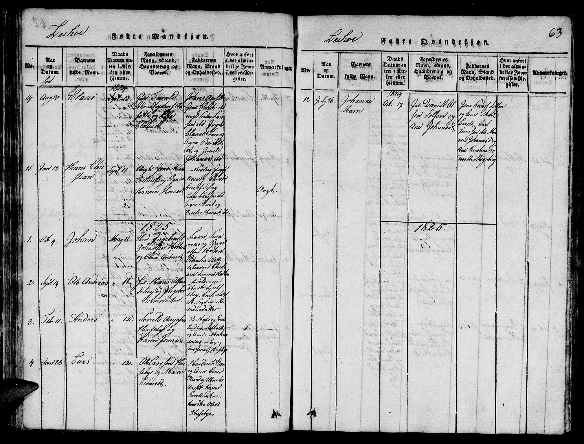 SAT, Ministerialprotokoller, klokkerbøker og fødselsregistre - Nord-Trøndelag, 780/L0648: Klokkerbok nr. 780C01 /2, 1815-1875, s. 63
