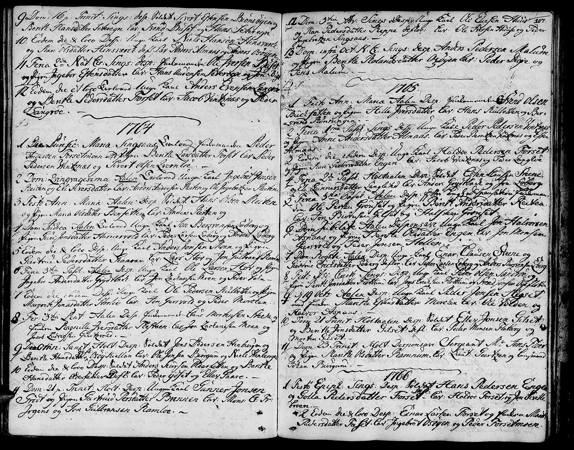 SAT, Ministerialprotokoller, klokkerbøker og fødselsregistre - Sør-Trøndelag, 685/L0952: Ministerialbok nr. 685A01, 1745-1804, s. 107