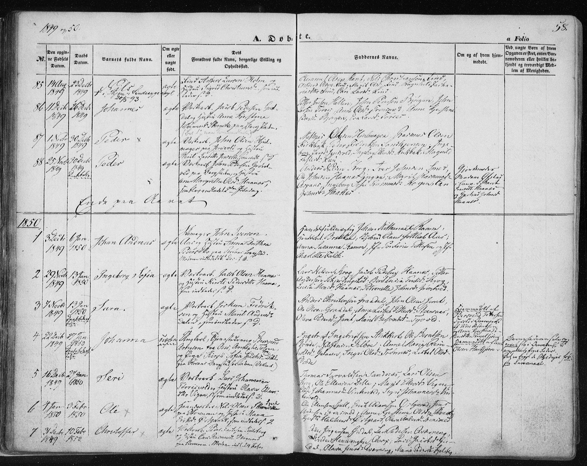 SAT, Ministerialprotokoller, klokkerbøker og fødselsregistre - Sør-Trøndelag, 681/L0931: Ministerialbok nr. 681A09, 1845-1859, s. 58