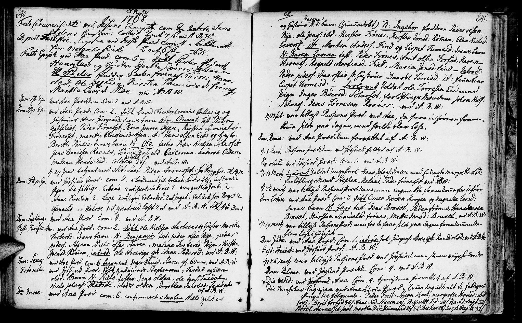 SAT, Ministerialprotokoller, klokkerbøker og fødselsregistre - Sør-Trøndelag, 655/L0672: Ministerialbok nr. 655A01, 1750-1779, s. 240-241