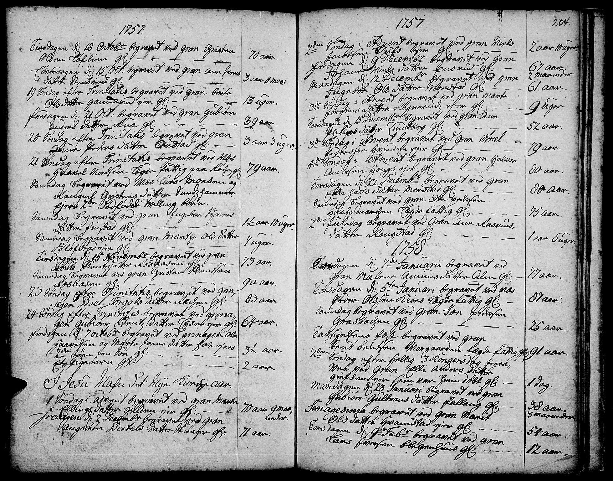 SAH, Gran prestekontor, Ministerialbok nr. 3, 1745-1758, s. 204