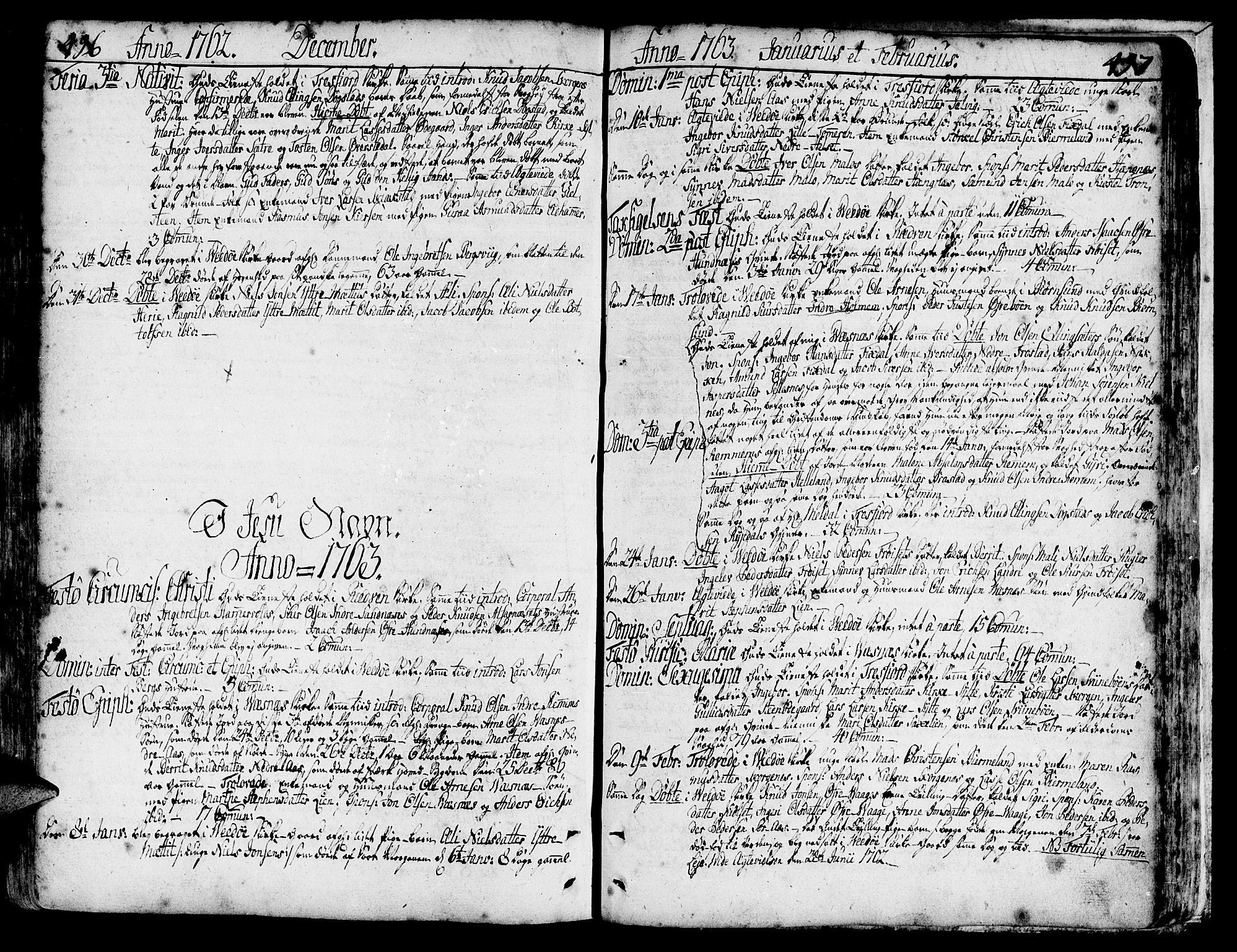SAT, Ministerialprotokoller, klokkerbøker og fødselsregistre - Møre og Romsdal, 547/L0599: Ministerialbok nr. 547A01, 1721-1764, s. 496-497