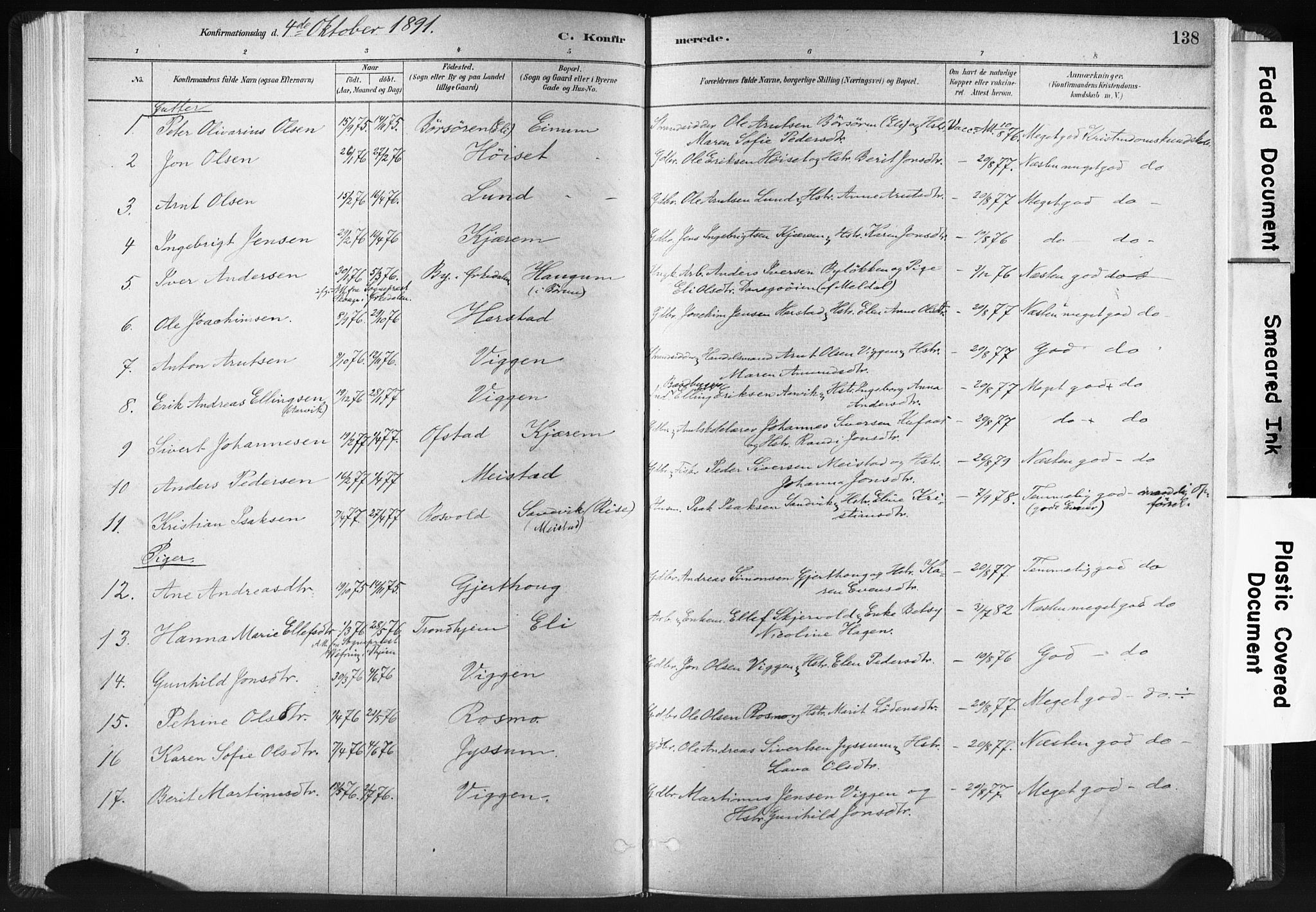 SAT, Ministerialprotokoller, klokkerbøker og fødselsregistre - Sør-Trøndelag, 665/L0773: Ministerialbok nr. 665A08, 1879-1905, s. 138
