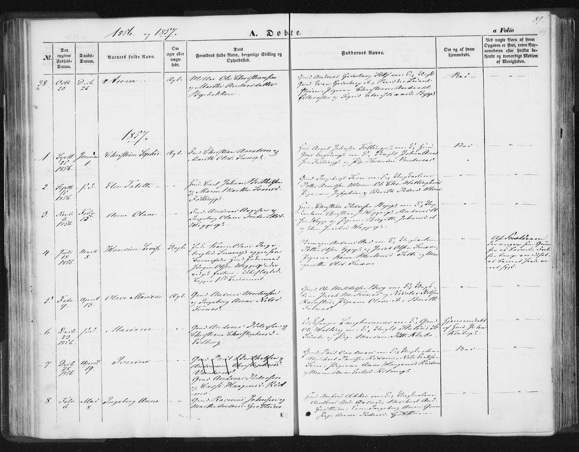 SAT, Ministerialprotokoller, klokkerbøker og fødselsregistre - Nord-Trøndelag, 746/L0446: Ministerialbok nr. 746A05, 1846-1859, s. 89