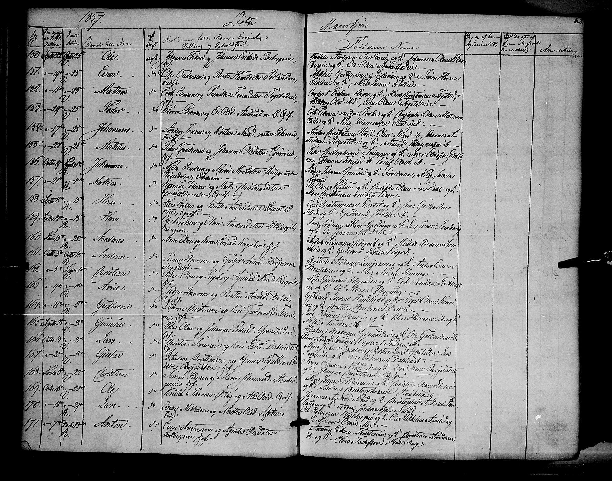 SAH, Ringsaker prestekontor, K/Ka/L0009: Ministerialbok nr. 9, 1850-1860, s. 62