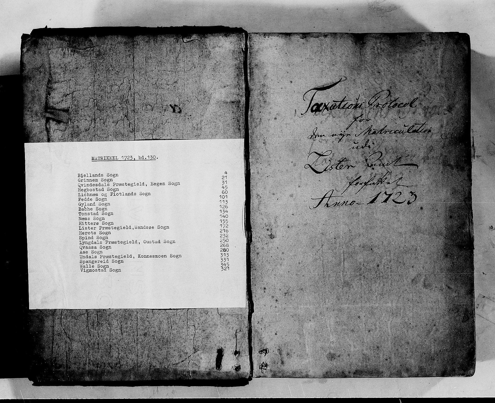 RA, Rentekammeret inntil 1814, Realistisk ordnet avdeling, N/Nb/Nbf/L0130: Lista matrikkelprotokoll, 1723, s. 1a