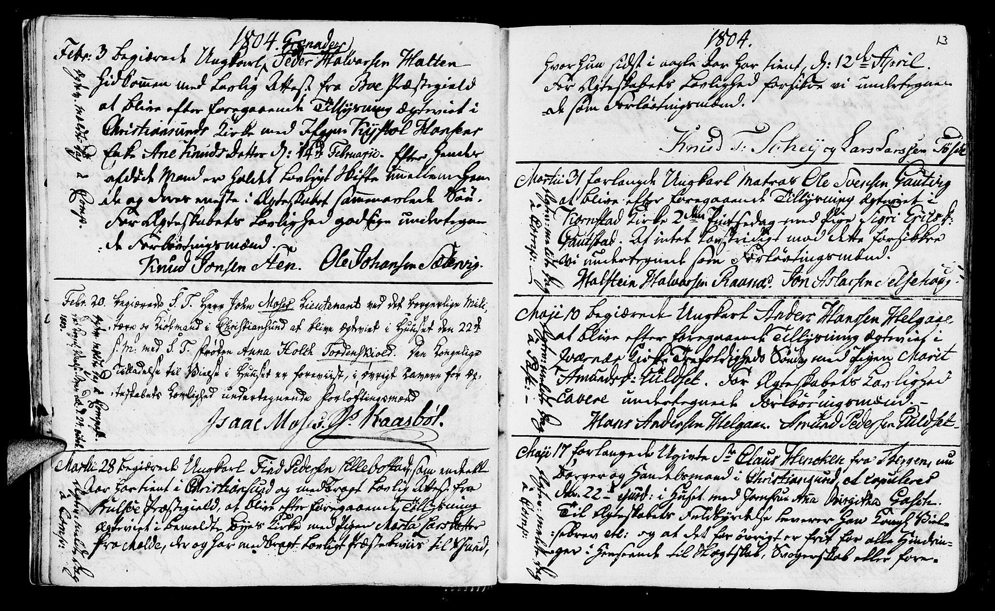 SAT, Ministerialprotokoller, klokkerbøker og fødselsregistre - Møre og Romsdal, 568/L0795: Ministerialbok nr. 568A04, 1802-1845, s. 13