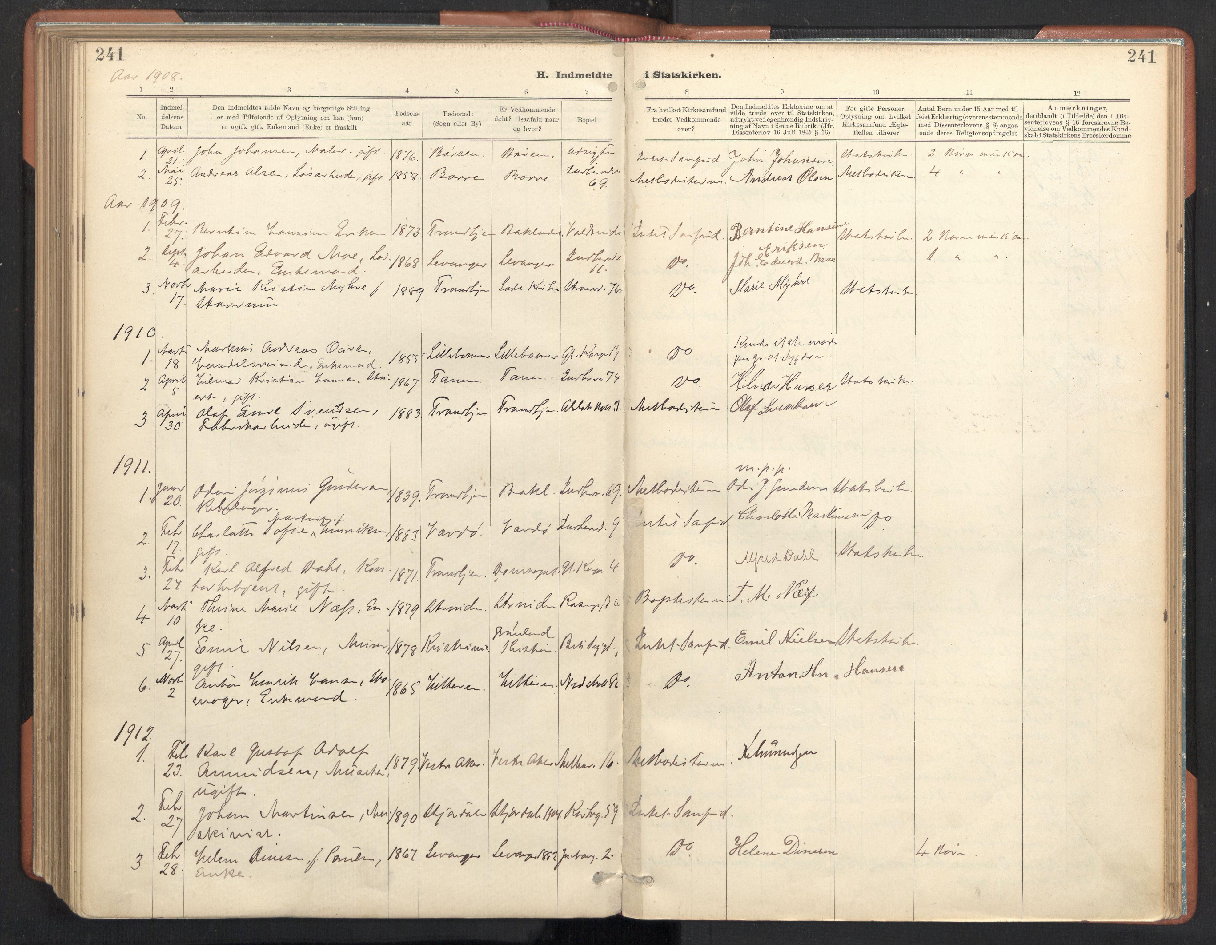 SAT, Ministerialprotokoller, klokkerbøker og fødselsregistre - Sør-Trøndelag, 605/L0244: Ministerialbok nr. 605A06, 1908-1954, s. 241