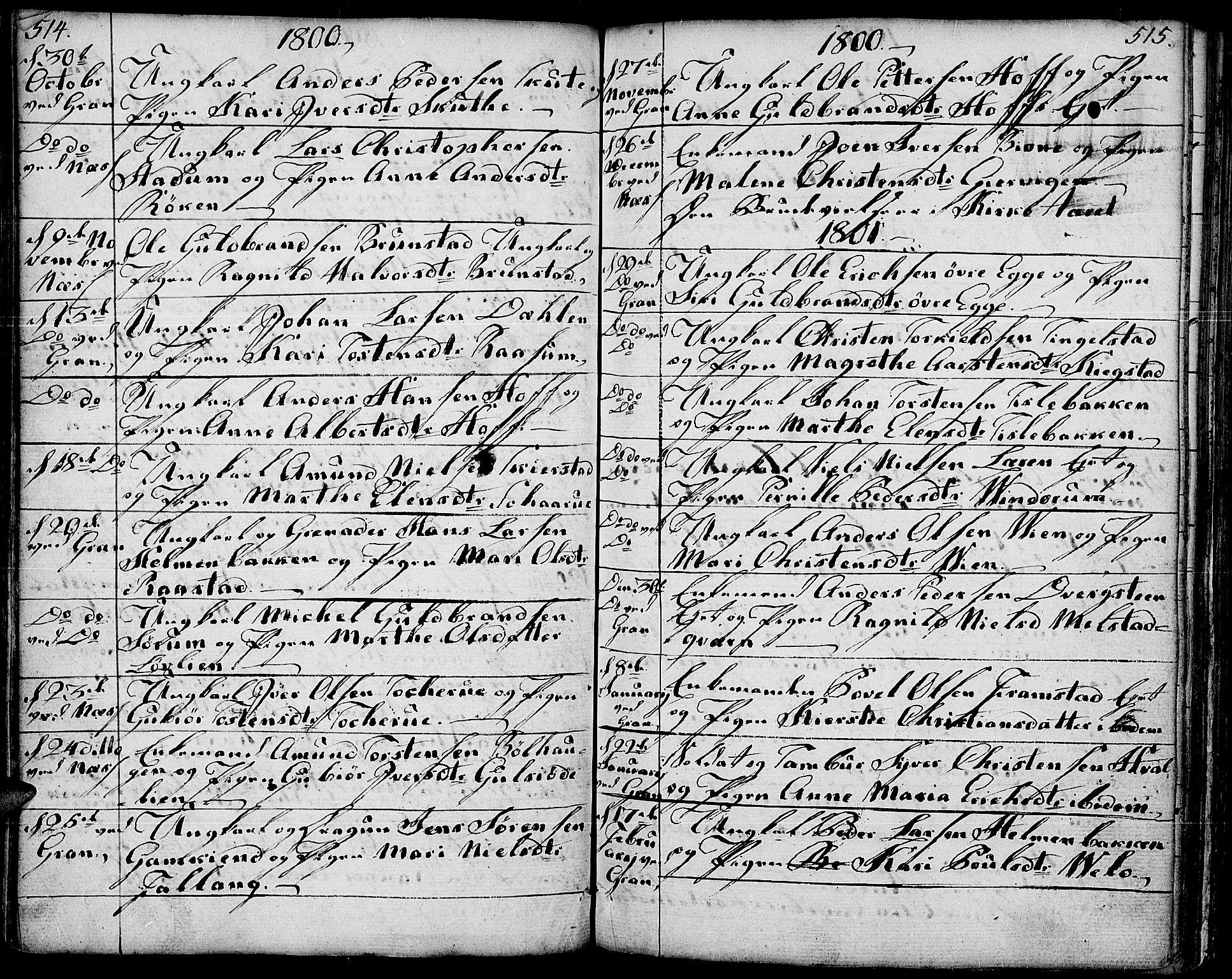 SAH, Gran prestekontor, Ministerialbok nr. 6, 1787-1824, s. 514-515