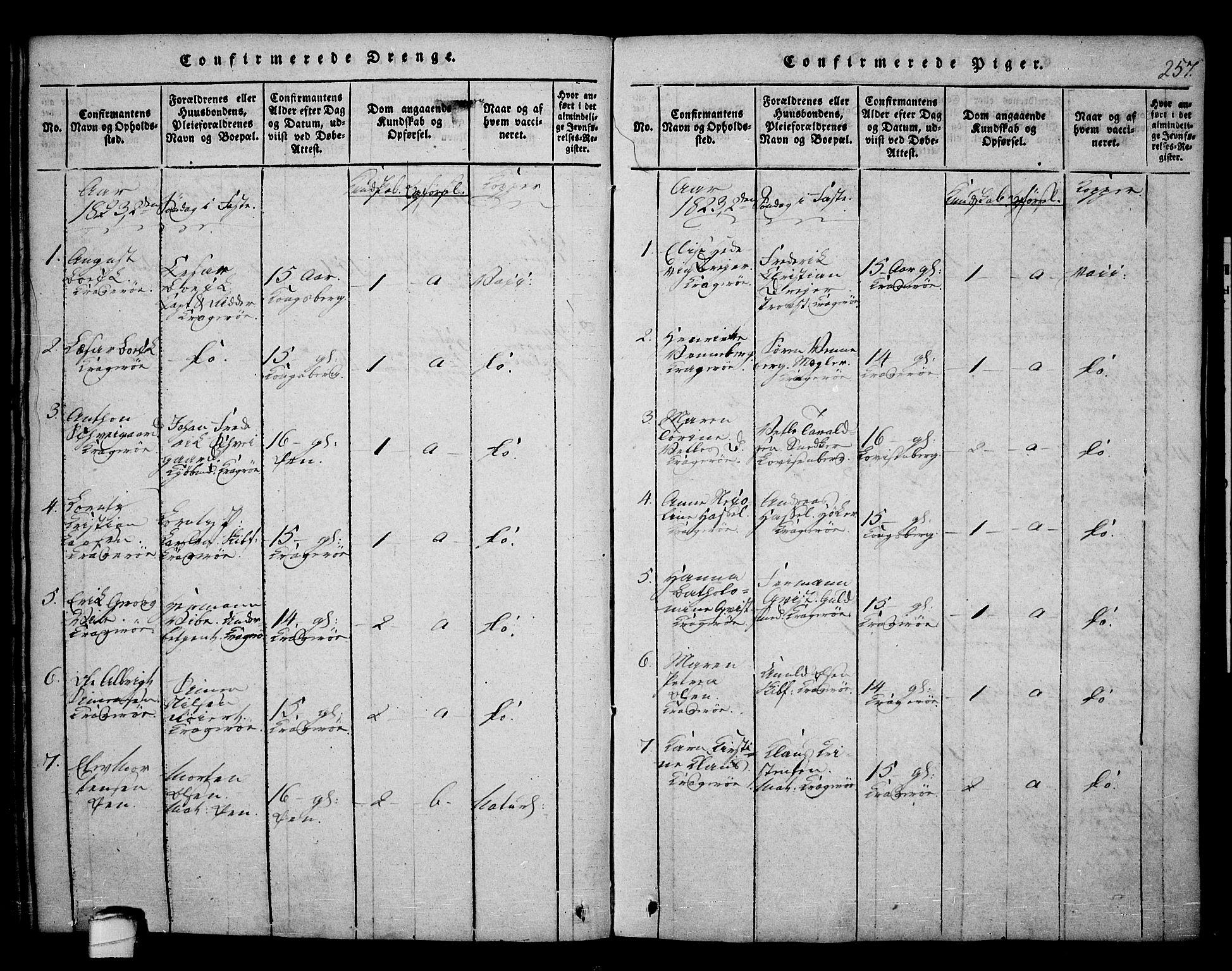 SAKO, Kragerø kirkebøker, F/Fa/L0004: Ministerialbok nr. 4, 1814-1831, s. 257