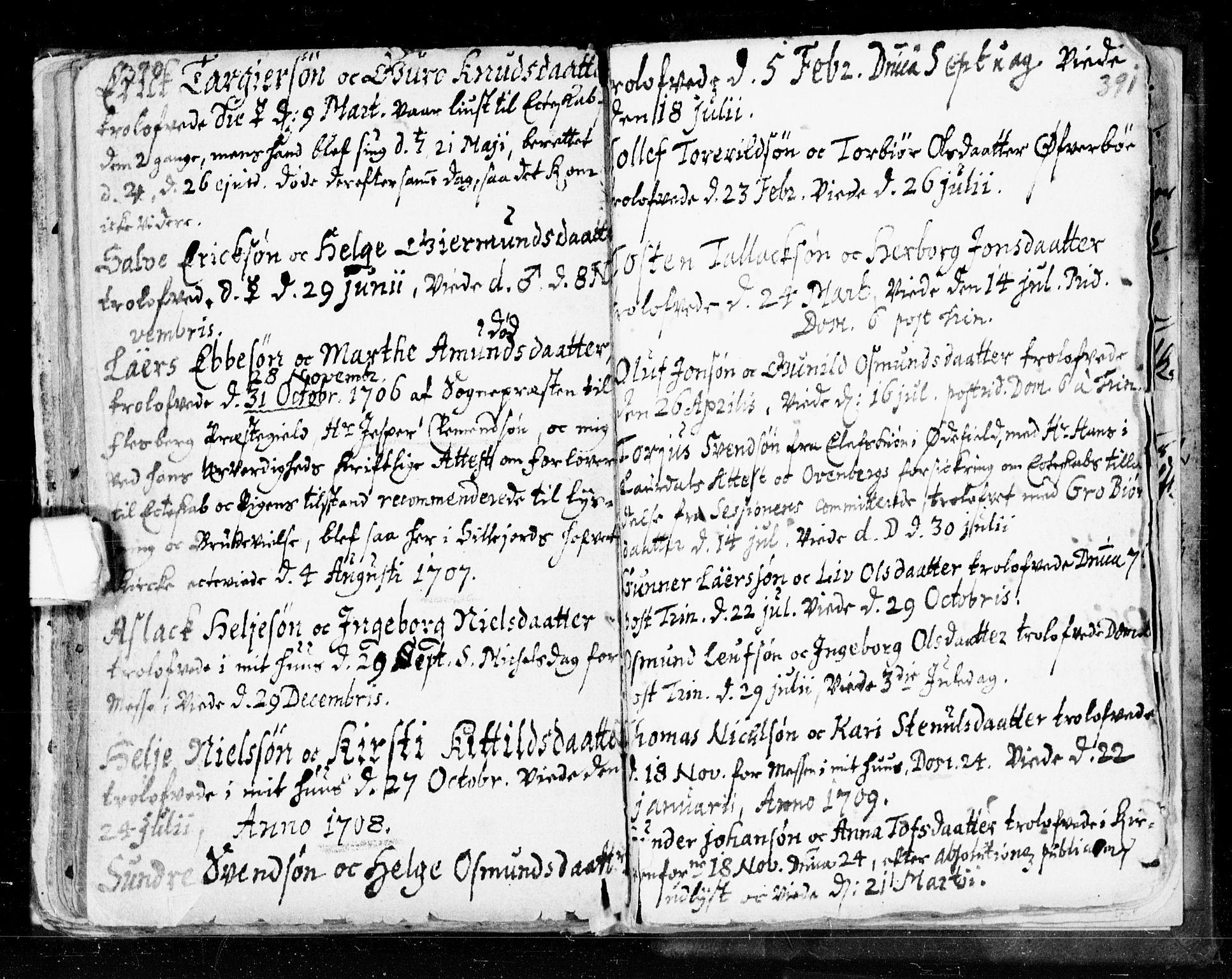 SAKO, Seljord kirkebøker, F/Fa/L0002: Ministerialbok nr. I 2, 1689-1713, s. 390-391