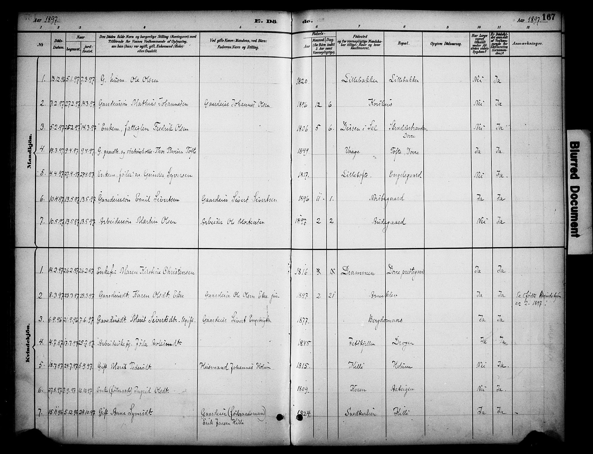 SAH, Dovre prestekontor, Ministerialbok nr. 3, 1891-1901, s. 167