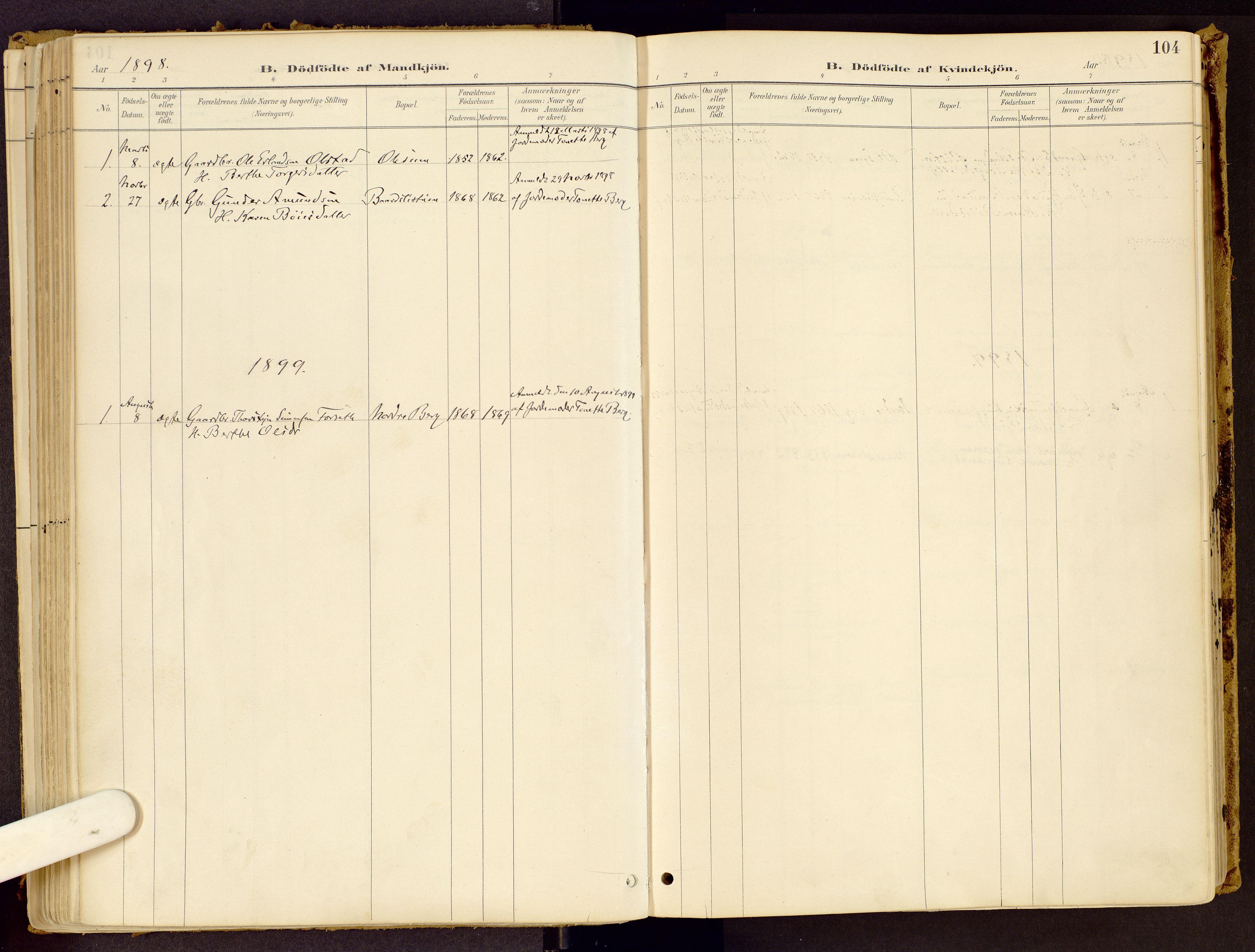 SAH, Vestre Gausdal prestekontor, Ministerialbok nr. 1, 1887-1914, s. 104