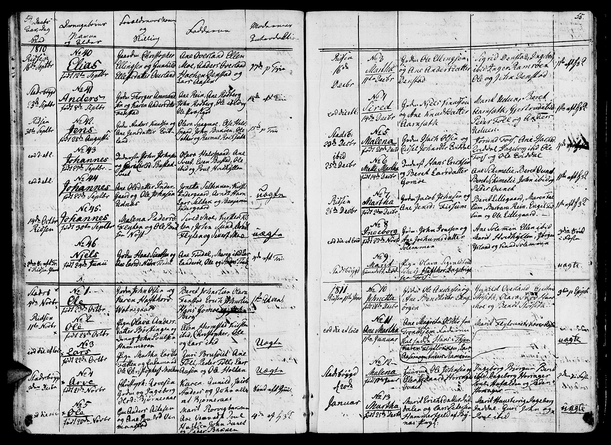 SAT, Ministerialprotokoller, klokkerbøker og fødselsregistre - Sør-Trøndelag, 646/L0607: Ministerialbok nr. 646A05, 1806-1815, s. 54-55