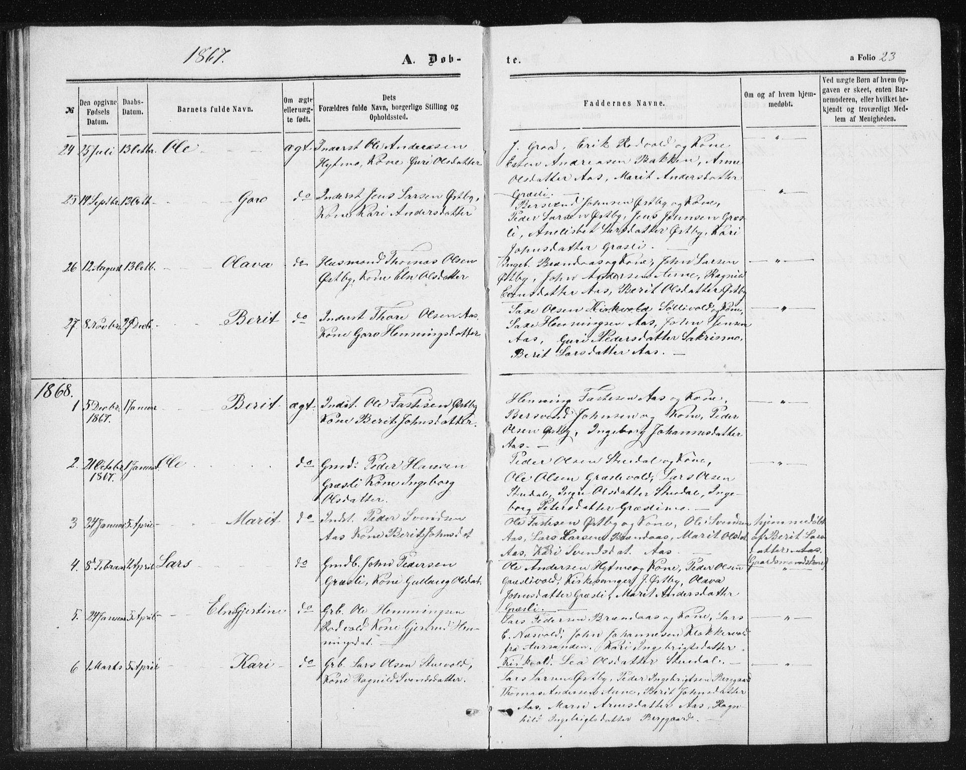 SAT, Ministerialprotokoller, klokkerbøker og fødselsregistre - Sør-Trøndelag, 698/L1166: Klokkerbok nr. 698C03, 1861-1887, s. 23