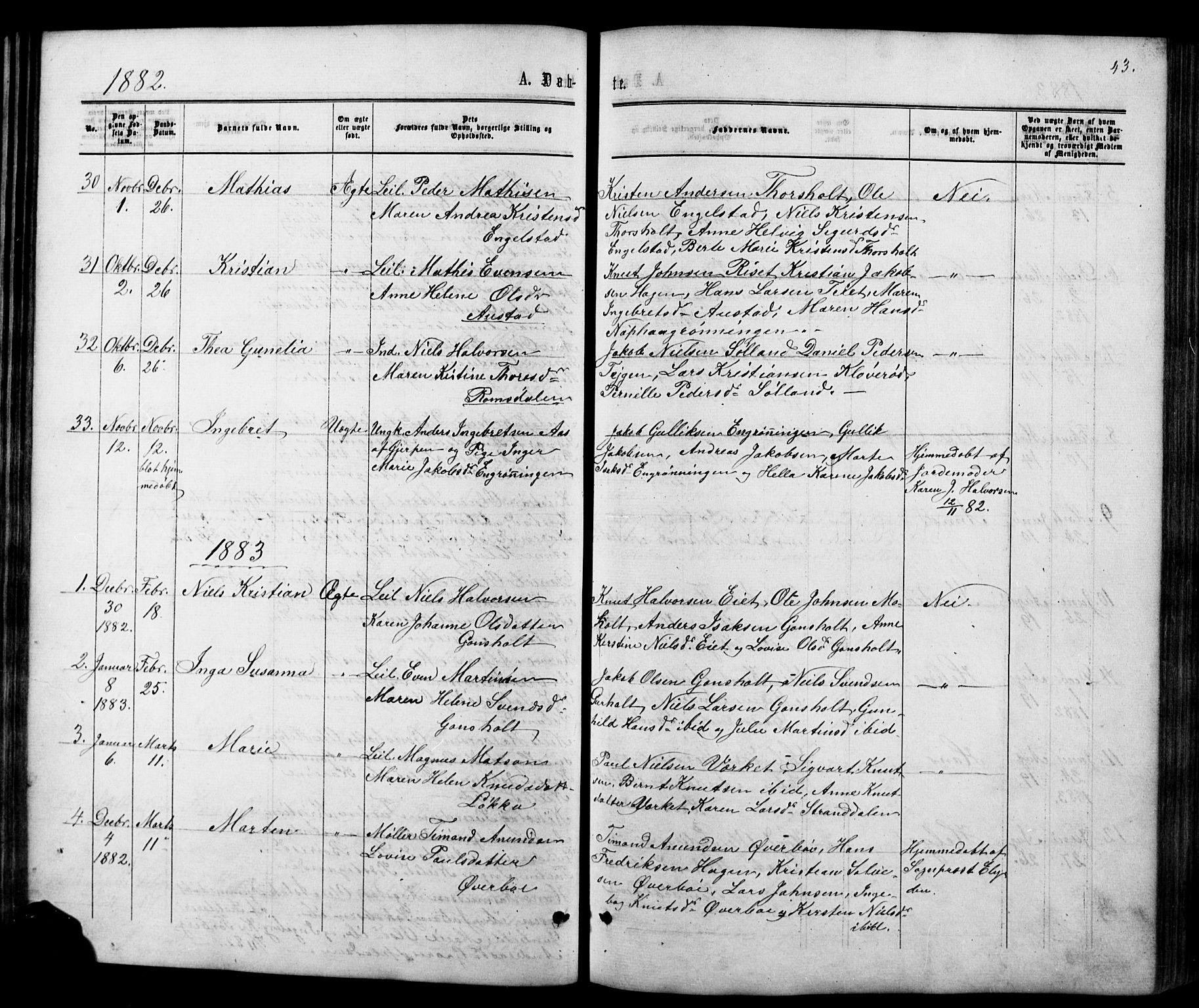 SAKO, Siljan kirkebøker, G/Ga/L0002: Klokkerbok nr. 2, 1864-1908, s. 43