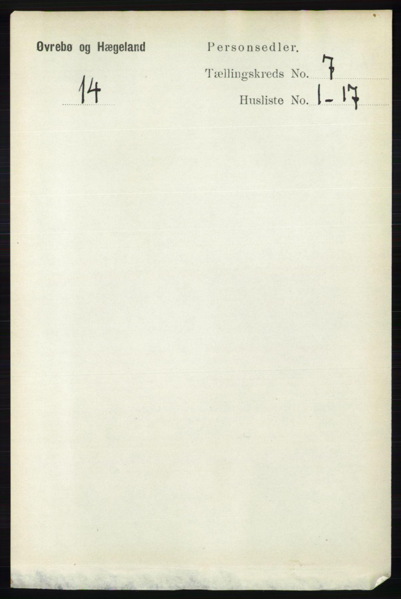 RA, Folketelling 1891 for 1016 Øvrebø og Hægeland herred, 1891, s. 1330