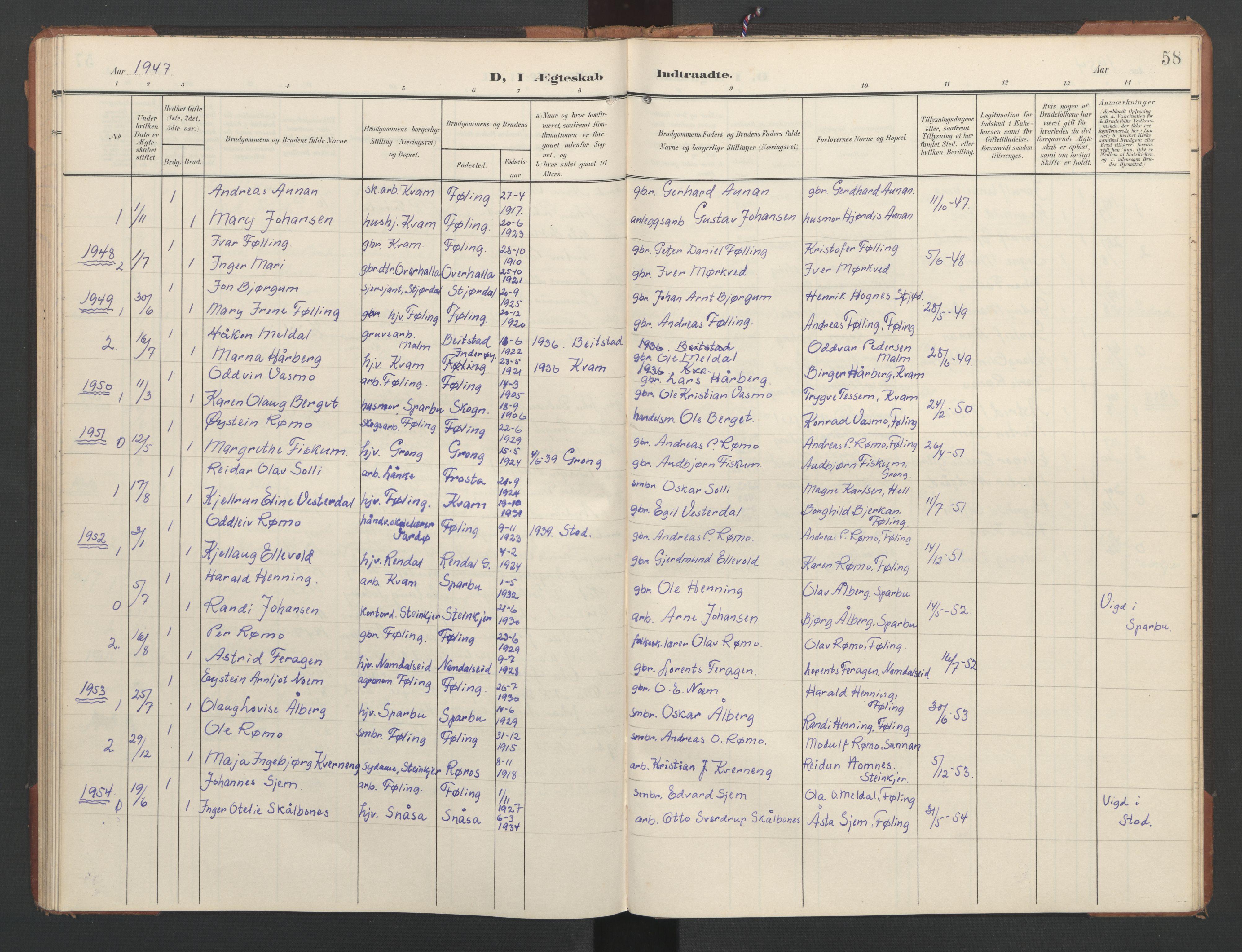 SAT, Ministerialprotokoller, klokkerbøker og fødselsregistre - Nord-Trøndelag, 748/L0465: Klokkerbok nr. 748C01, 1908-1960, s. 58