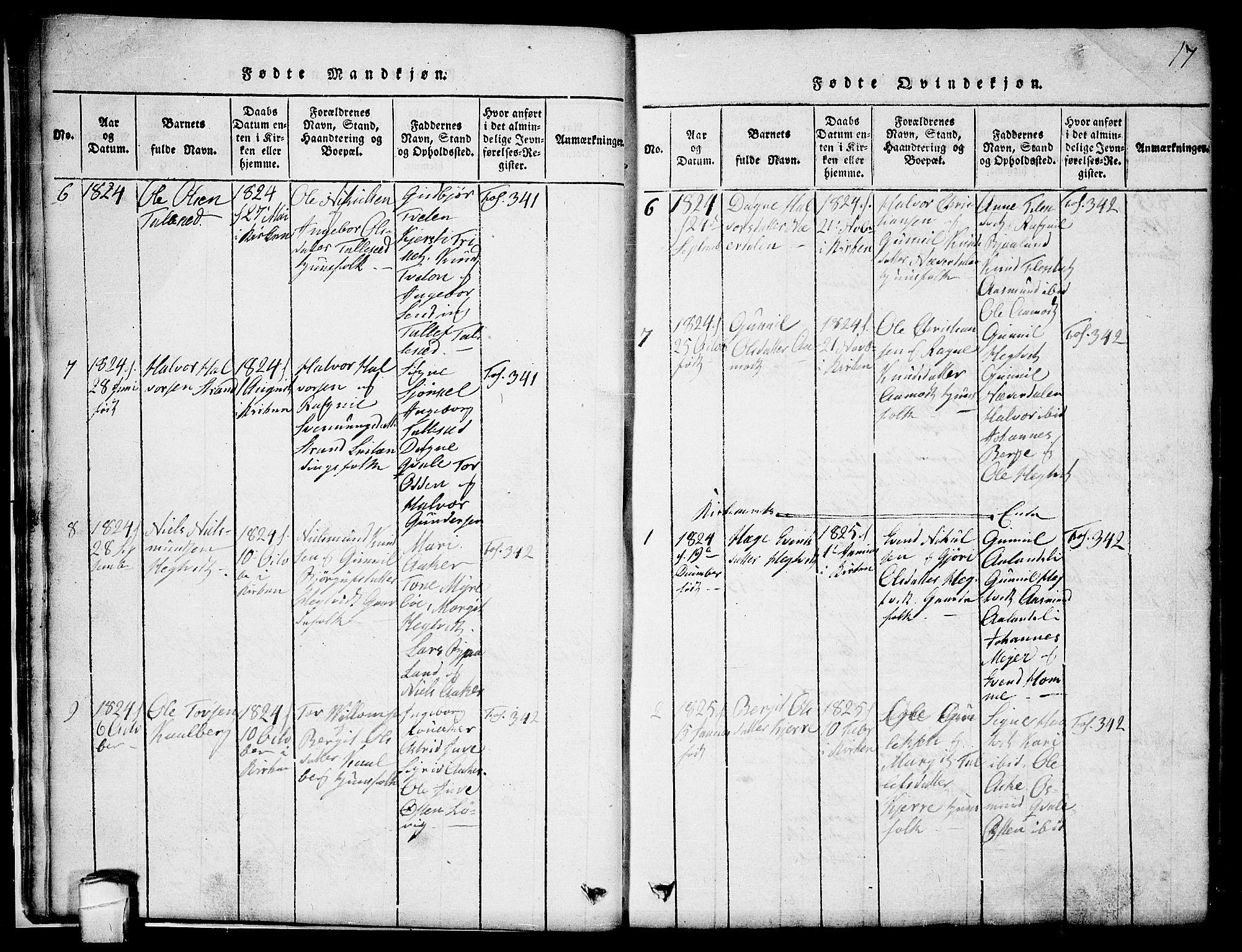 SAKO, Lårdal kirkebøker, G/Ga/L0001: Klokkerbok nr. I 1, 1815-1861, s. 17