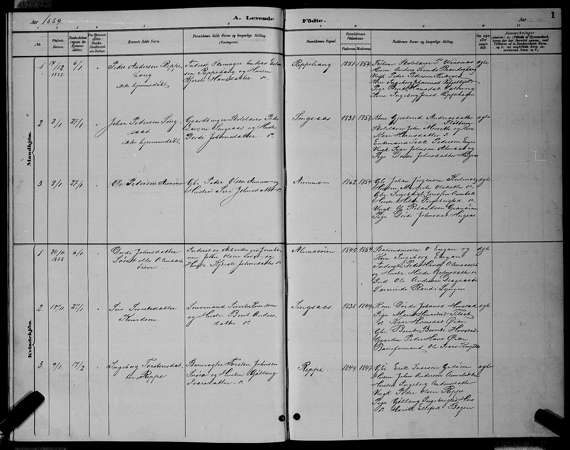 SAT, Ministerialprotokoller, klokkerbøker og fødselsregistre - Sør-Trøndelag, 688/L1028: Klokkerbok nr. 688C03, 1889-1899, s. 1