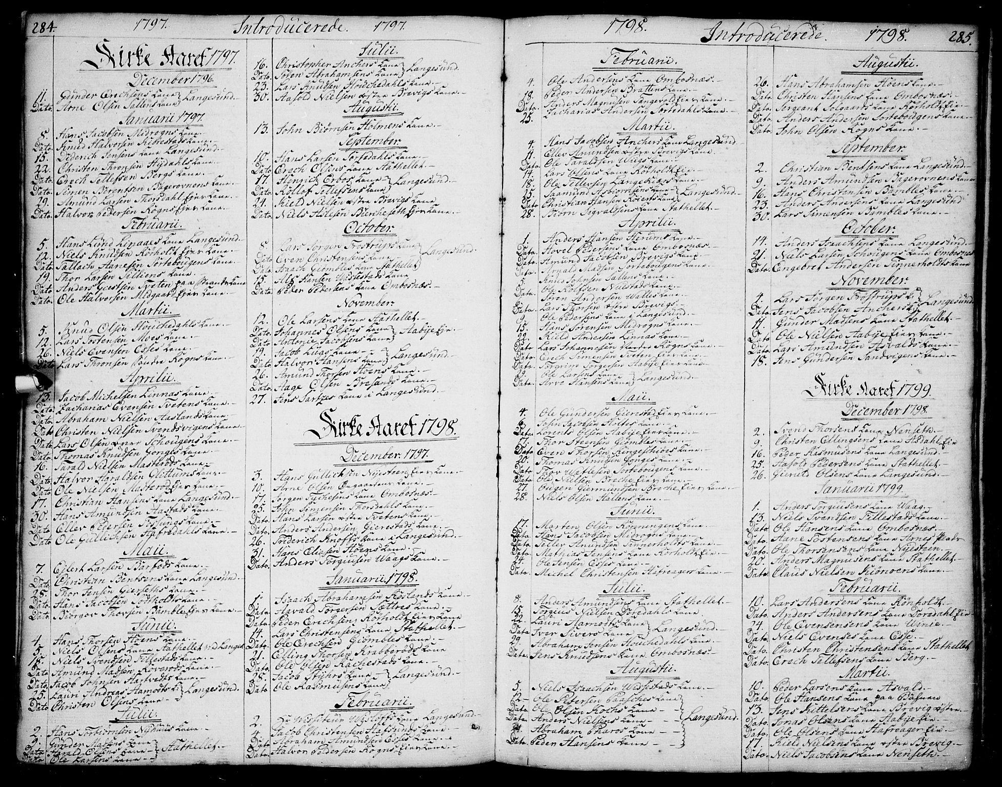SAKO, Bamble kirkebøker, F/Fa/L0002: Ministerialbok nr. I 2, 1775-1814, s. 284-285