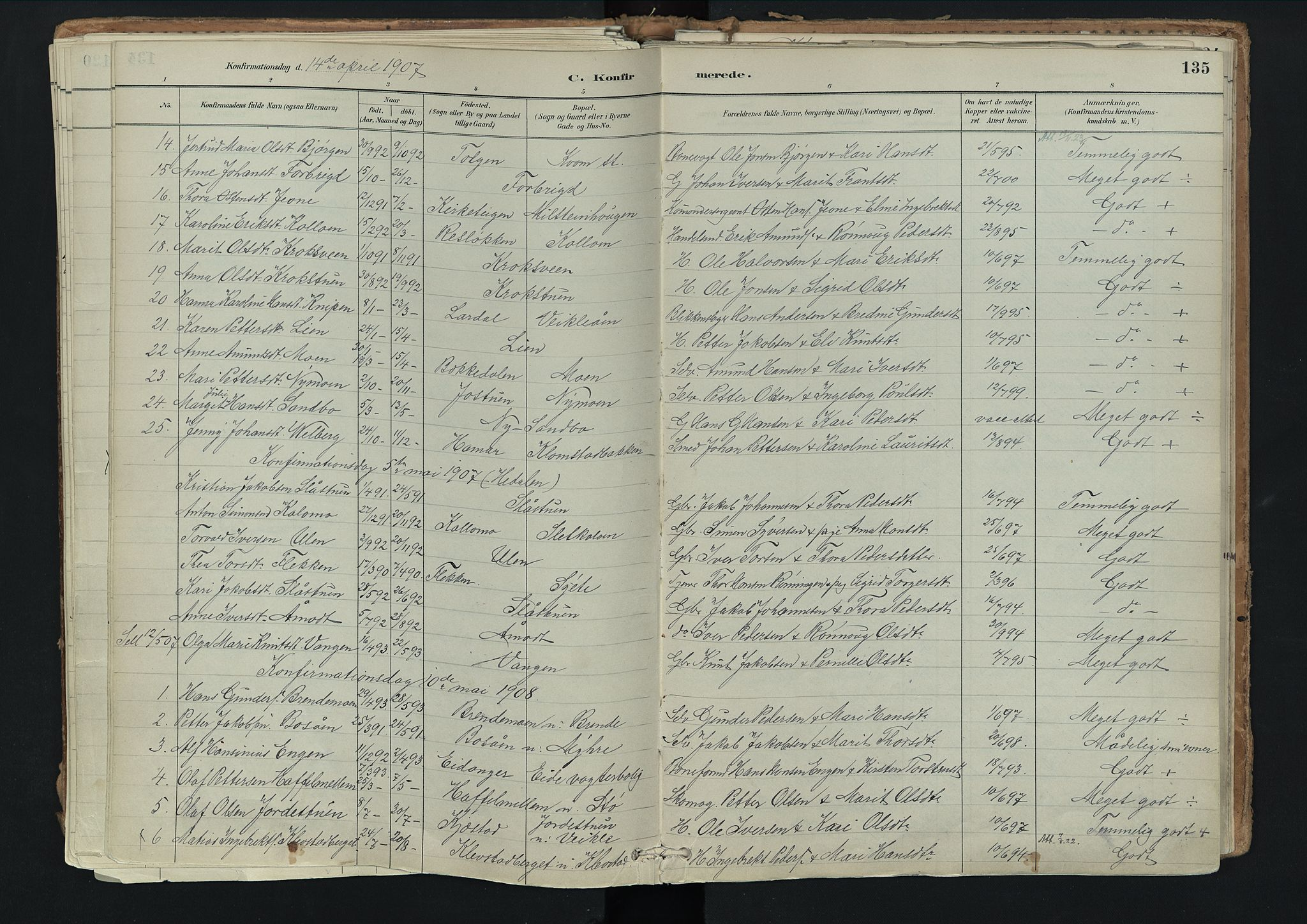SAH, Nord-Fron prestekontor, Ministerialbok nr. 3, 1884-1914, s. 135