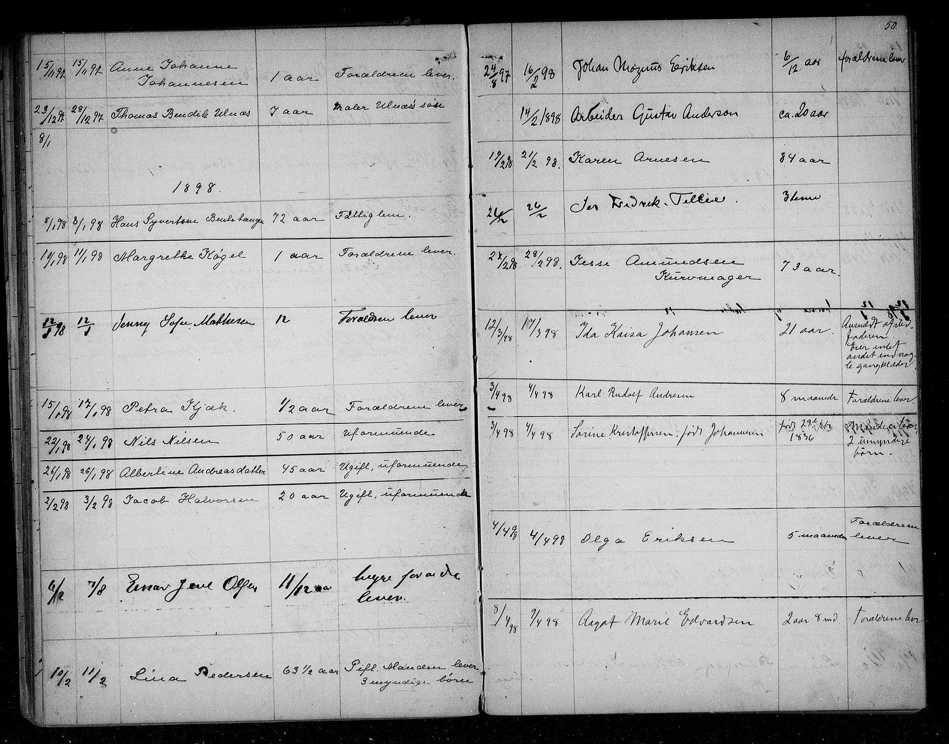 SAO, Sarpsborg byfogd, H/Ha/Haa/L0001: Dødsfallsprotokoll, 1880-1904, s. 49b-50a