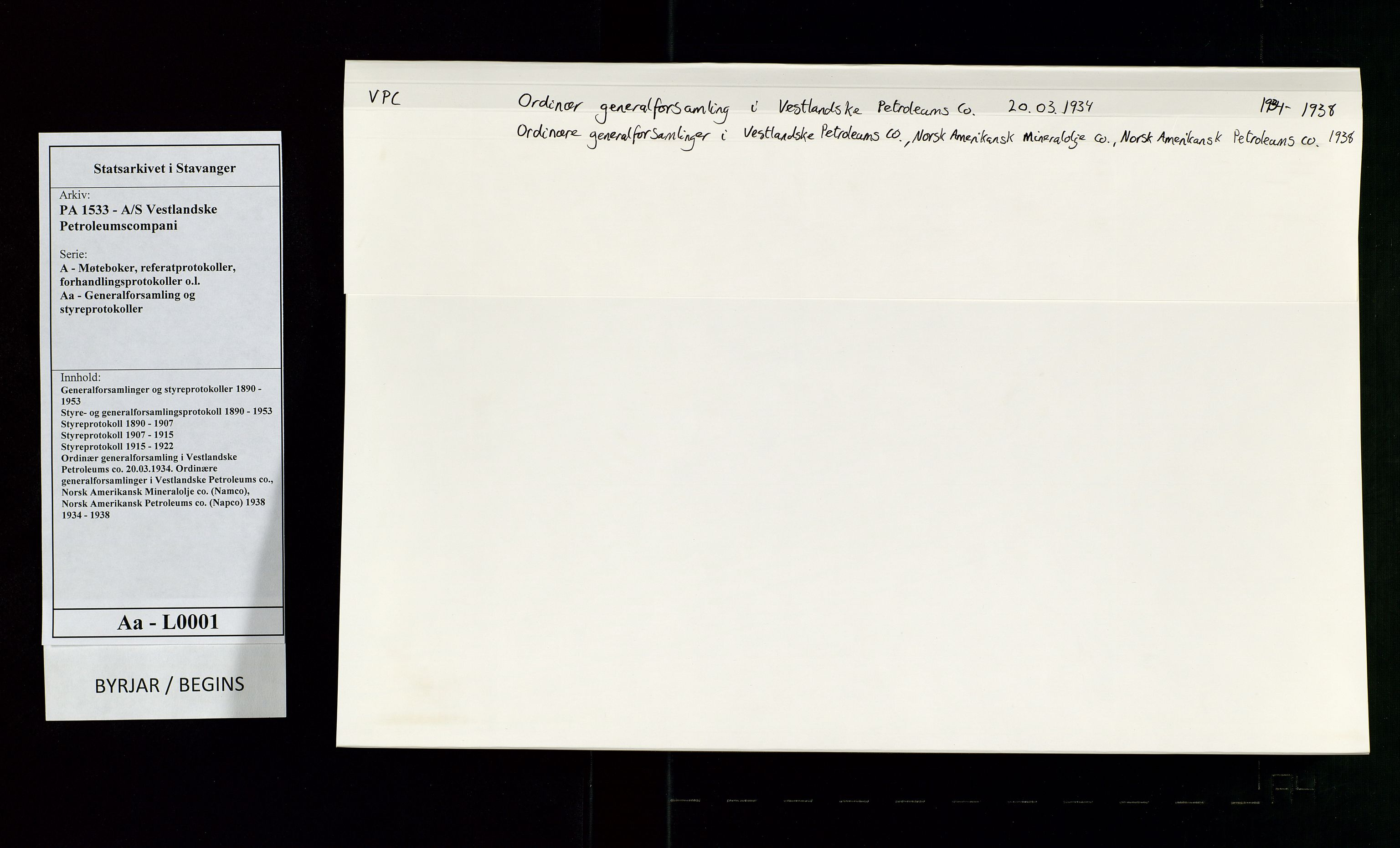 SAST, PA 1533 - A/S Vestlandske Petroleumscompani, A/Aa/L0001: Generalforsamlinger og styreprotokoller, 1934-1938, s. 1