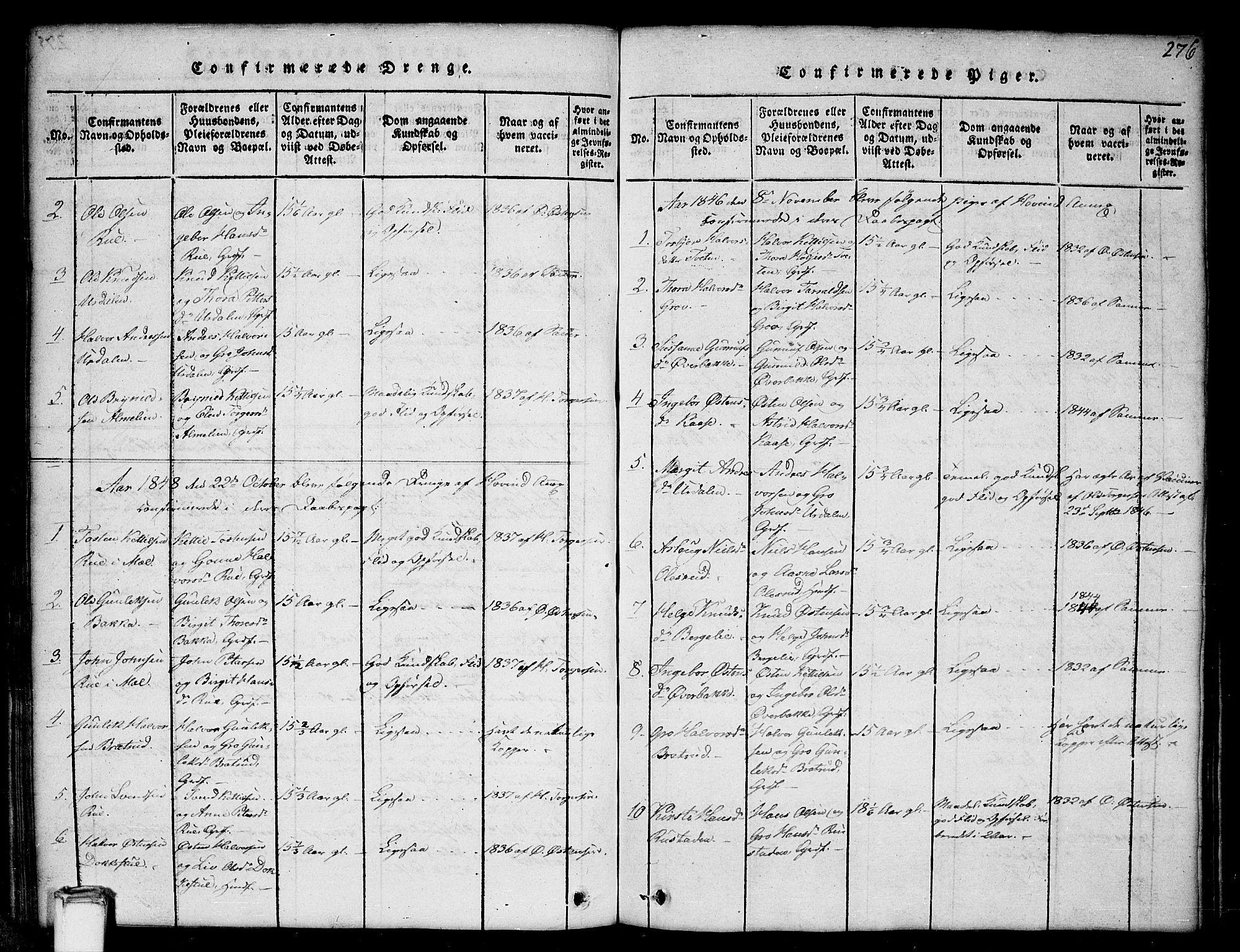 SAKO, Gransherad kirkebøker, G/Gb/L0001: Klokkerbok nr. II 1, 1815-1860, s. 276