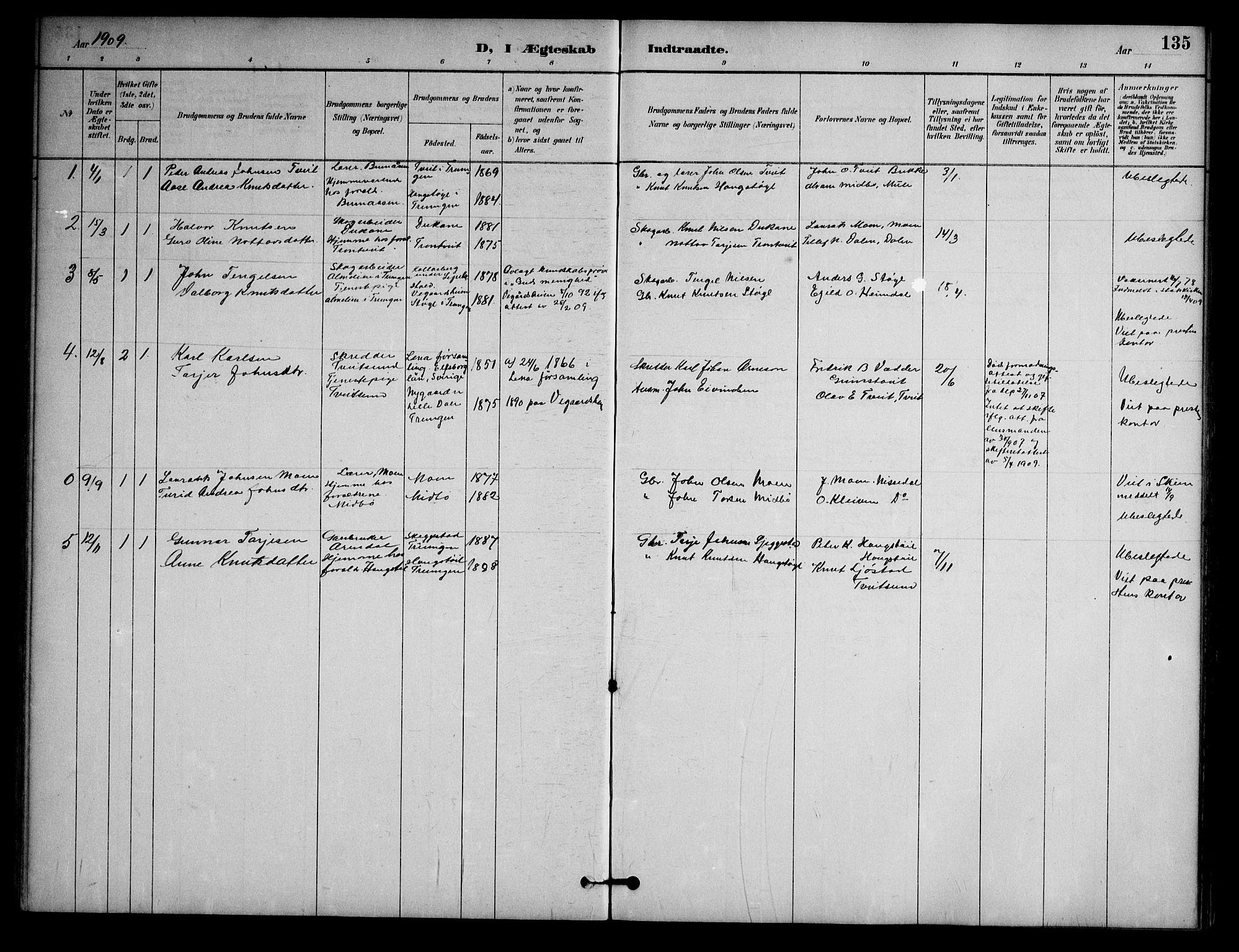SAKO, Nissedal kirkebøker, G/Ga/L0003: Klokkerbok nr. I 3, 1887-1911, s. 135