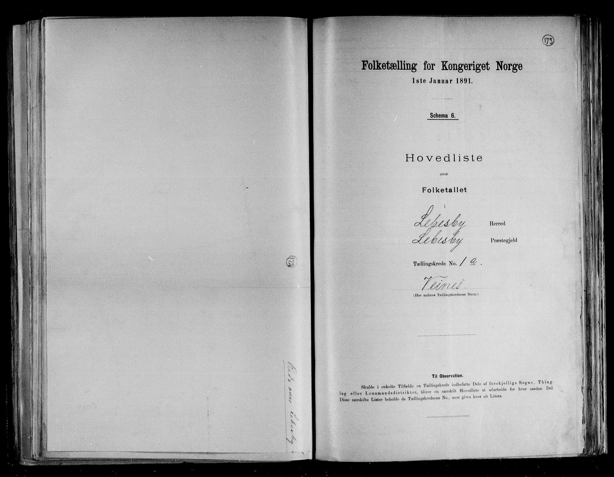 RA, Folketelling 1891 for 2022 Lebesby herred, 1891, s. 6