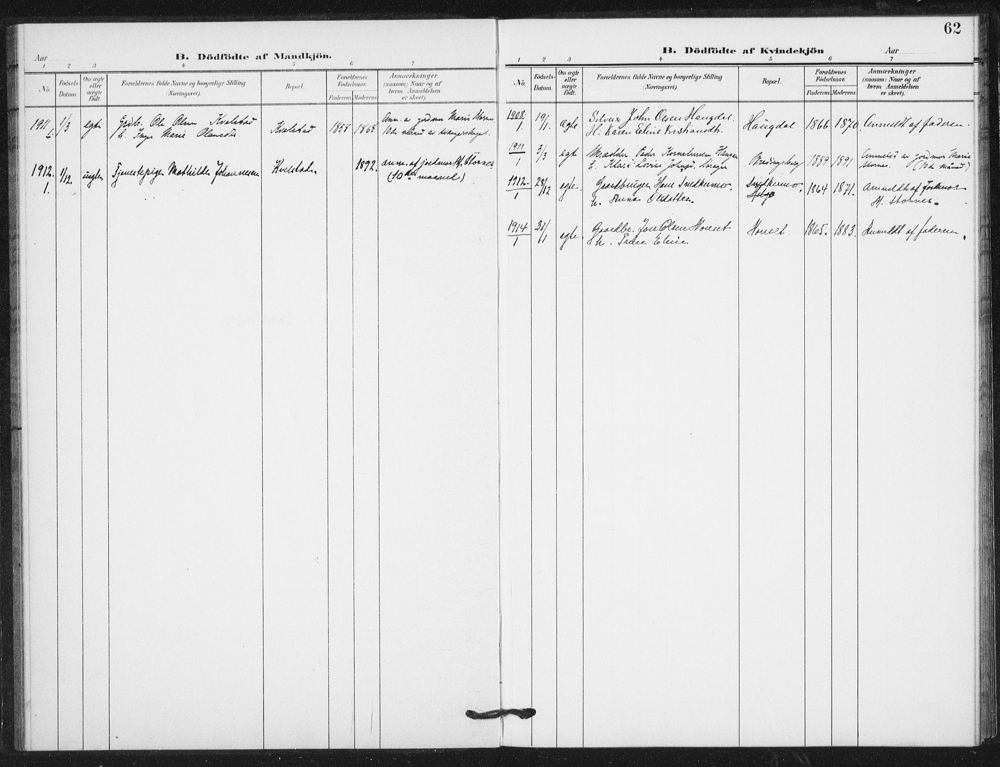 SAT, Ministerialprotokoller, klokkerbøker og fødselsregistre - Nord-Trøndelag, 724/L0264: Ministerialbok nr. 724A02, 1908-1915, s. 62