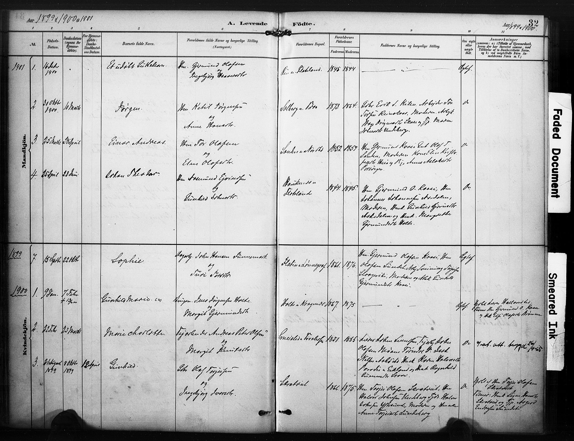 SAKO, Kviteseid kirkebøker, F/Fc/L0002: Ministerialbok nr. III 2, 1882-1908, s. 32