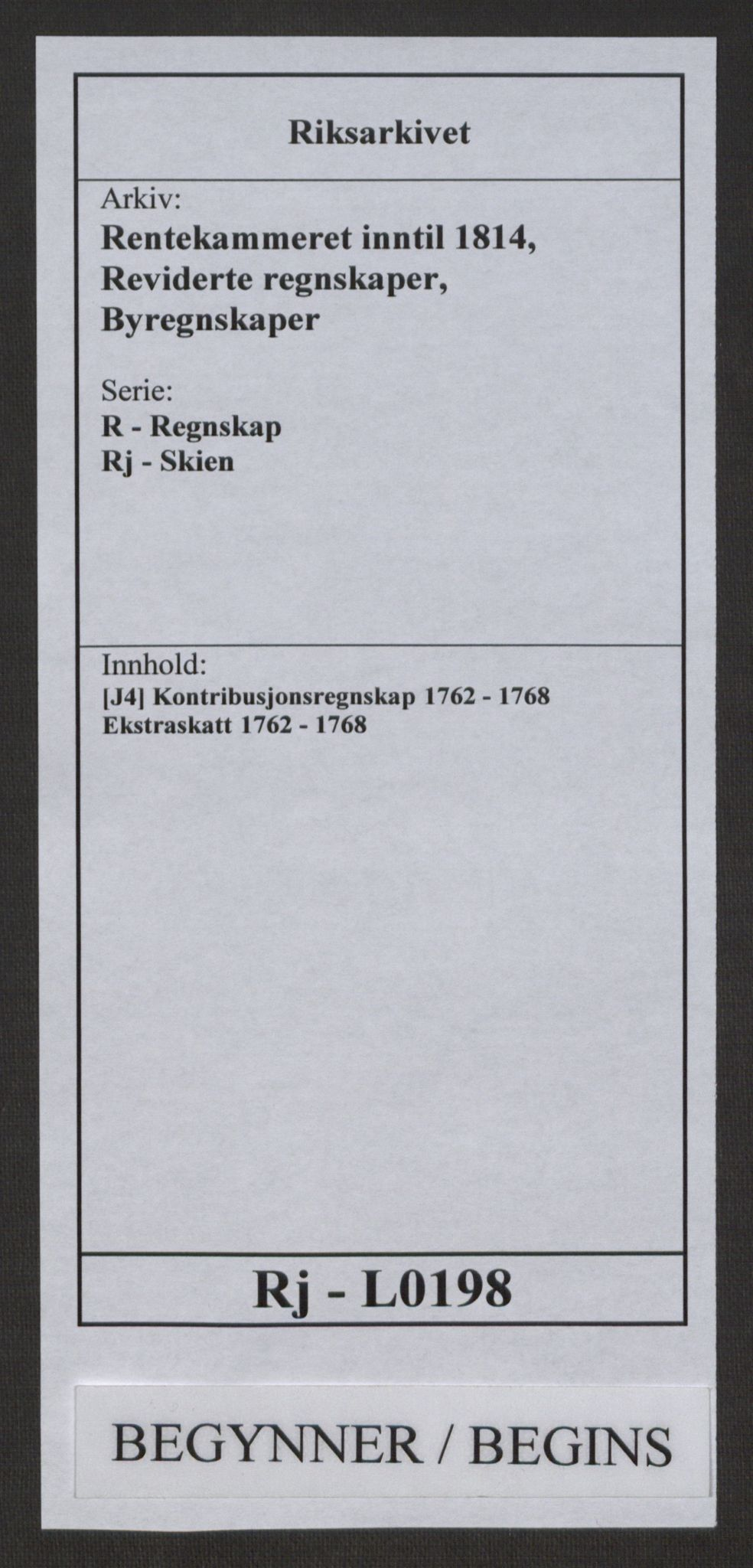RA, Rentekammeret inntil 1814, Reviderte regnskaper, Byregnskaper, R/Rj/L0198: [J4] Kontribusjonsregnskap, 1762-1768, s. 1