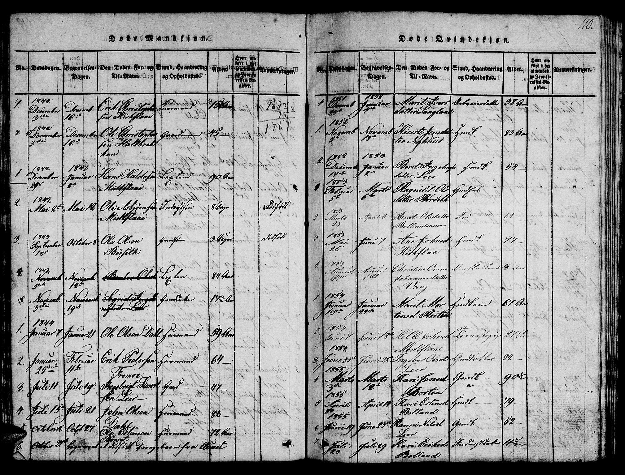 SAT, Ministerialprotokoller, klokkerbøker og fødselsregistre - Sør-Trøndelag, 693/L1121: Klokkerbok nr. 693C02, 1816-1869, s. 110