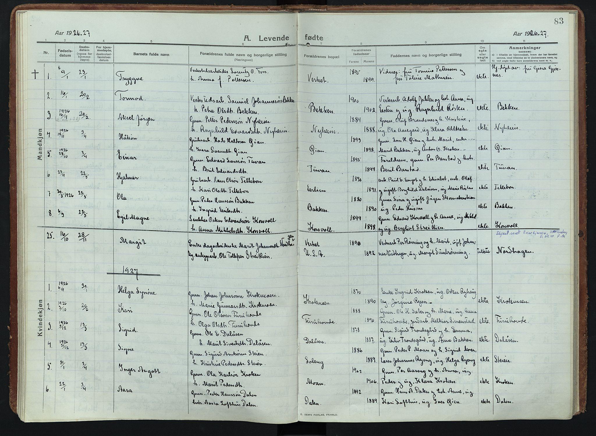 SAH, Alvdal prestekontor, Ministerialbok nr. 5, 1913-1930, s. 83