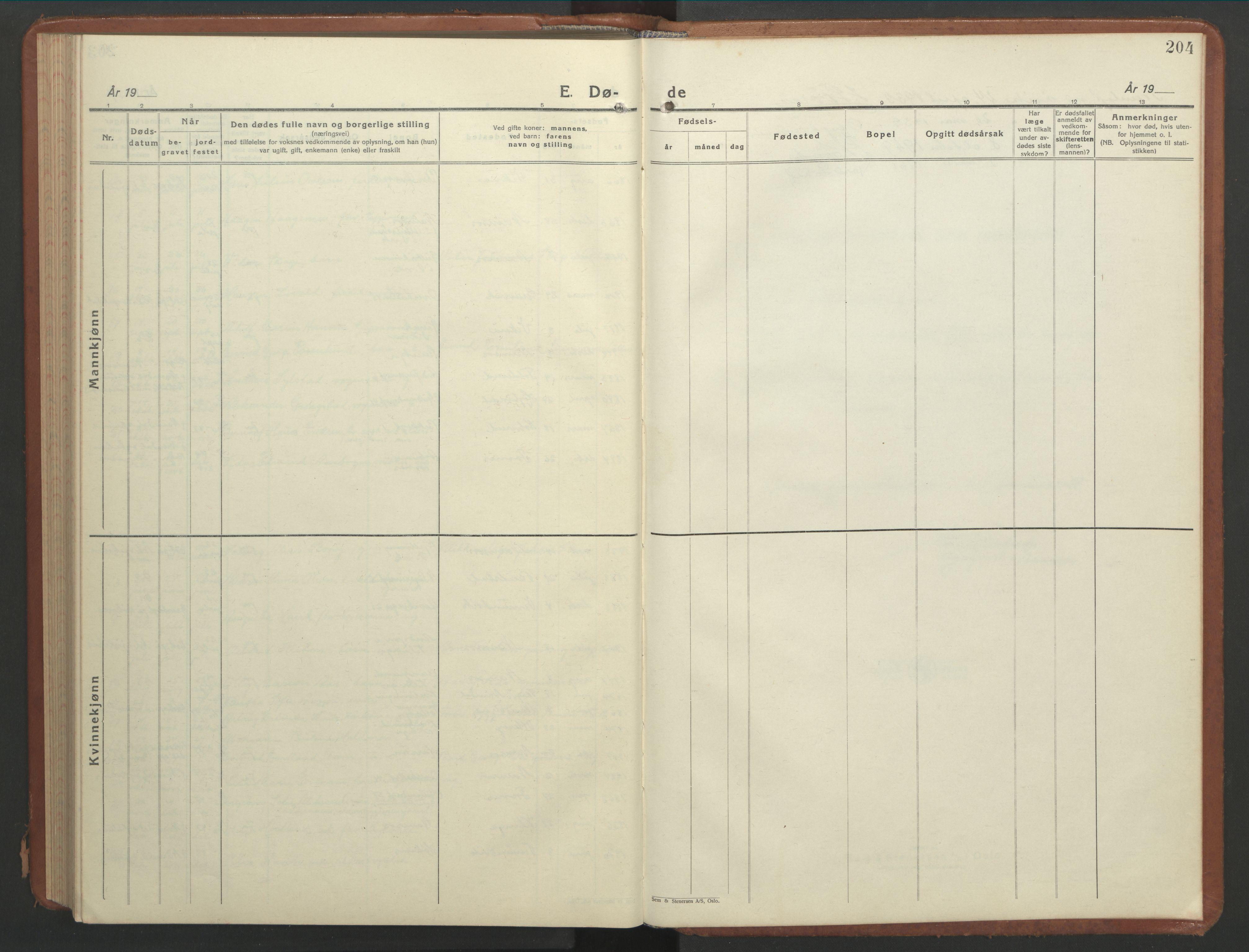 SAT, Ministerialprotokoller, klokkerbøker og fødselsregistre - Nord-Trøndelag, 768/L0583: Klokkerbok nr. 768C01, 1928-1953, s. 204