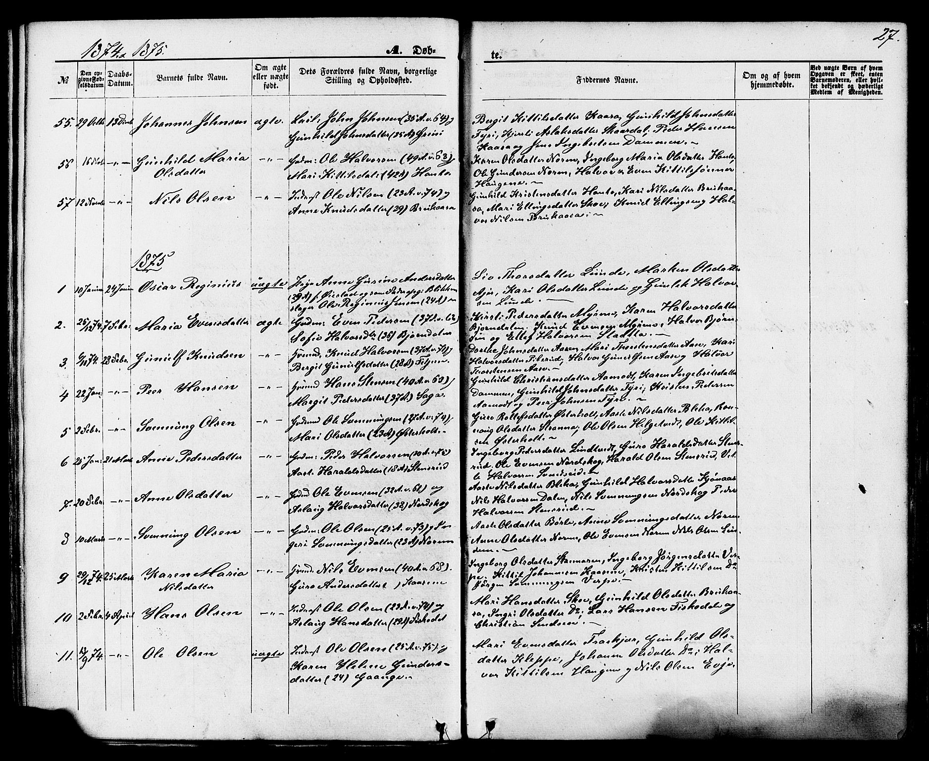 SAKO, Lunde kirkebøker, F/Fa/L0001: Ministerialbok nr. I 1, 1866-1883, s. 27