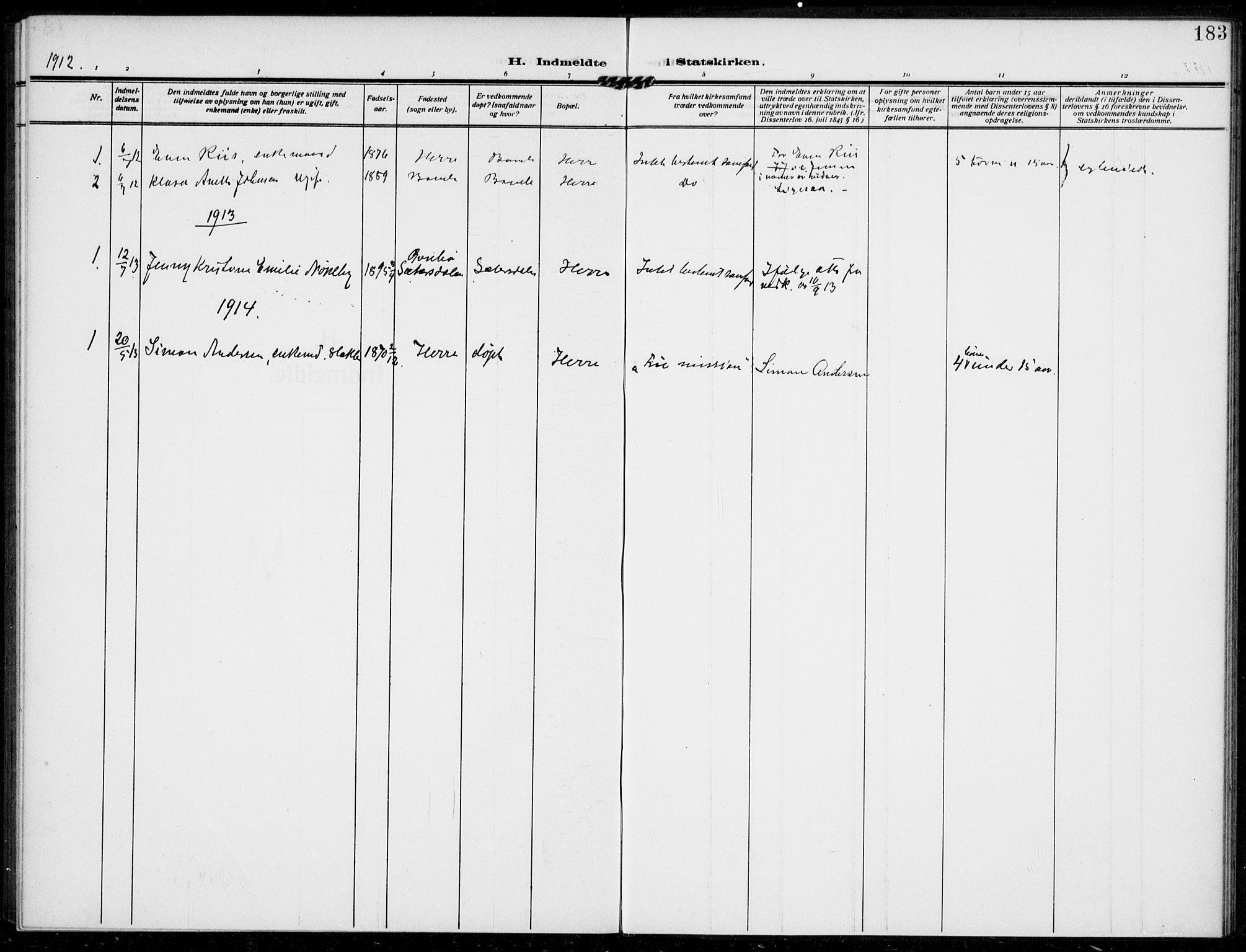 SAKO, Bamble kirkebøker, F/Fc/L0001: Ministerialbok nr. III 1, 1909-1916, s. 183
