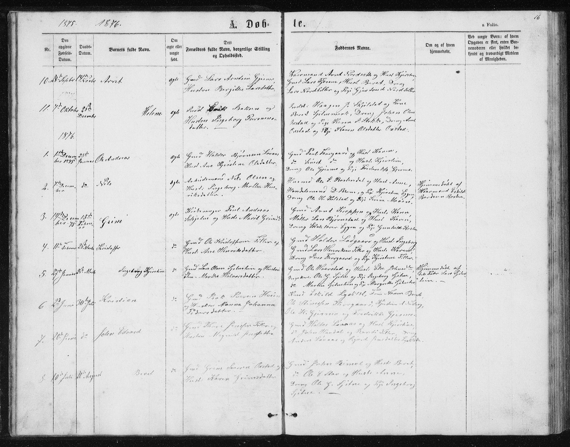 SAT, Ministerialprotokoller, klokkerbøker og fødselsregistre - Sør-Trøndelag, 621/L0459: Klokkerbok nr. 621C02, 1866-1895, s. 16