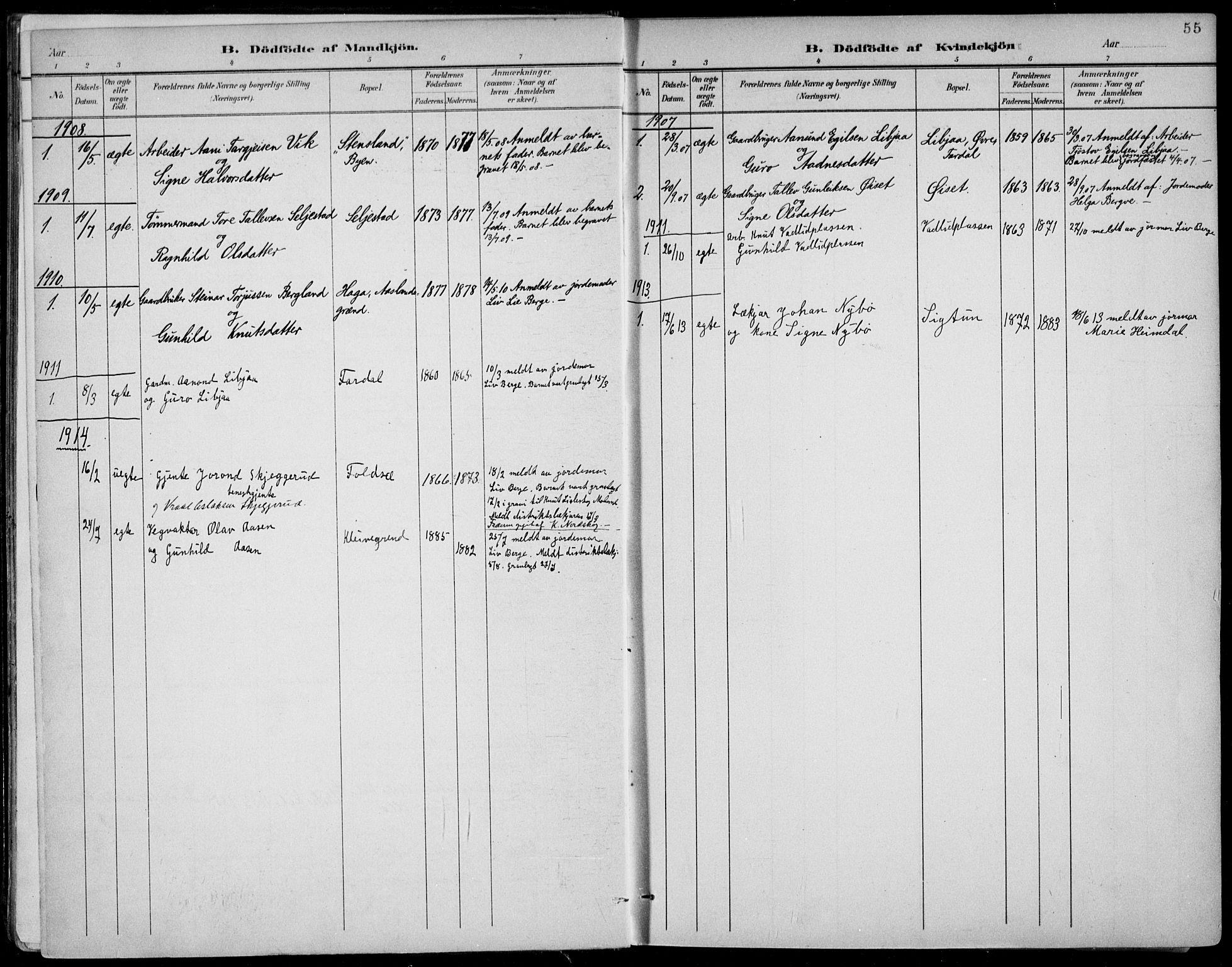 SAKO, Fyresdal kirkebøker, F/Fa/L0007: Ministerialbok nr. I 7, 1887-1914, s. 55