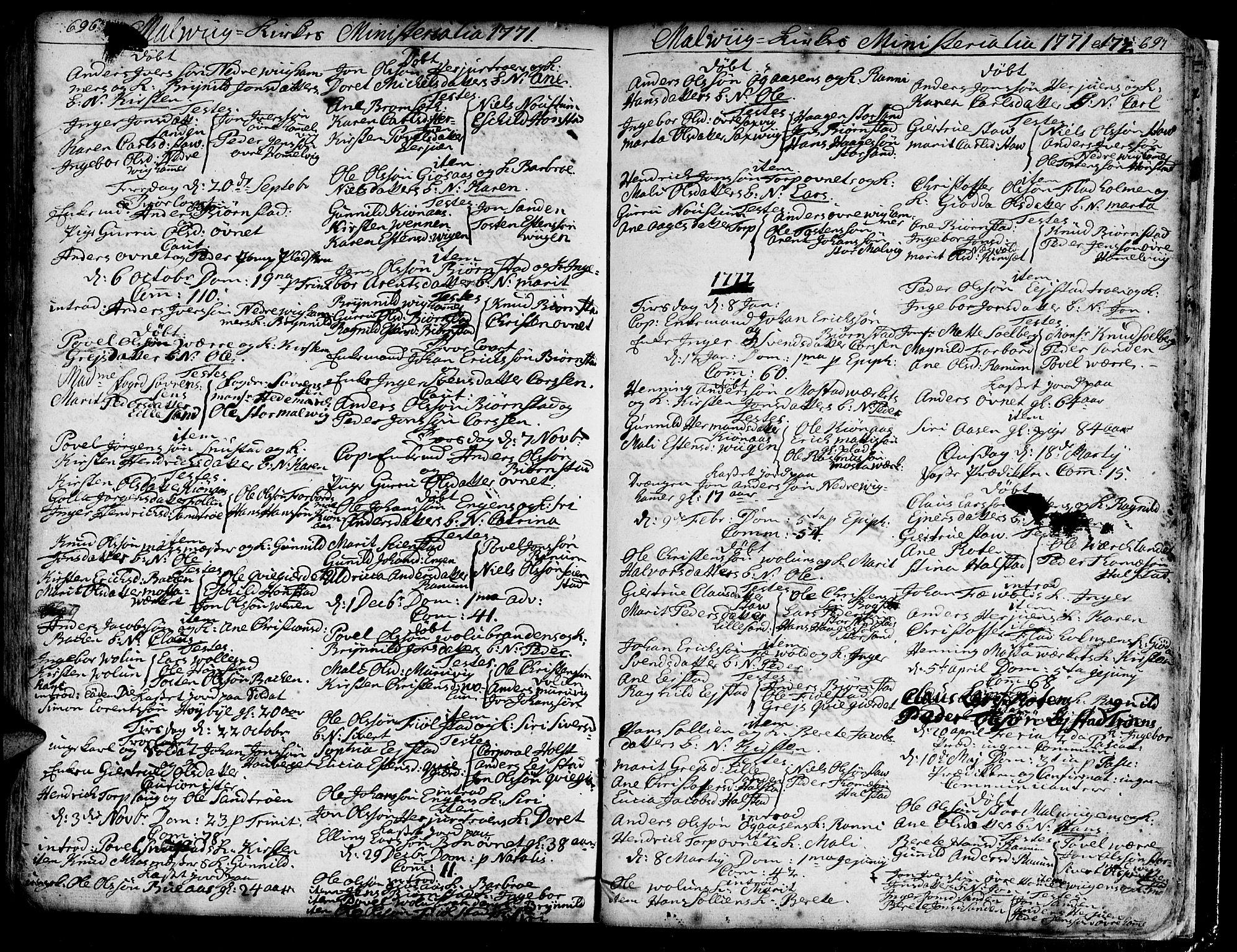 SAT, Ministerialprotokoller, klokkerbøker og fødselsregistre - Sør-Trøndelag, 606/L0277: Ministerialbok nr. 606A01 /3, 1727-1780, s. 696-697