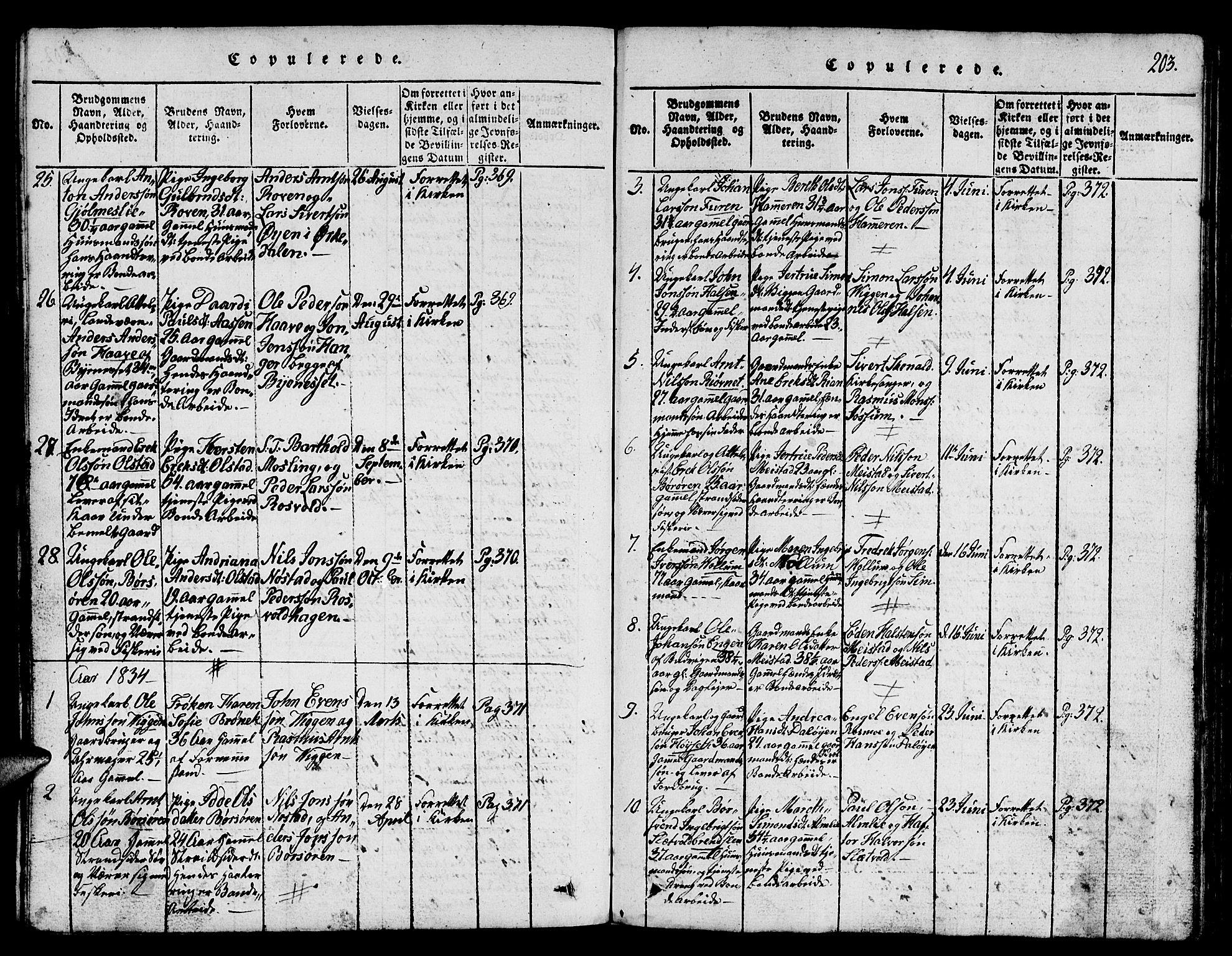 SAT, Ministerialprotokoller, klokkerbøker og fødselsregistre - Sør-Trøndelag, 665/L0776: Klokkerbok nr. 665C01, 1817-1837, s. 203